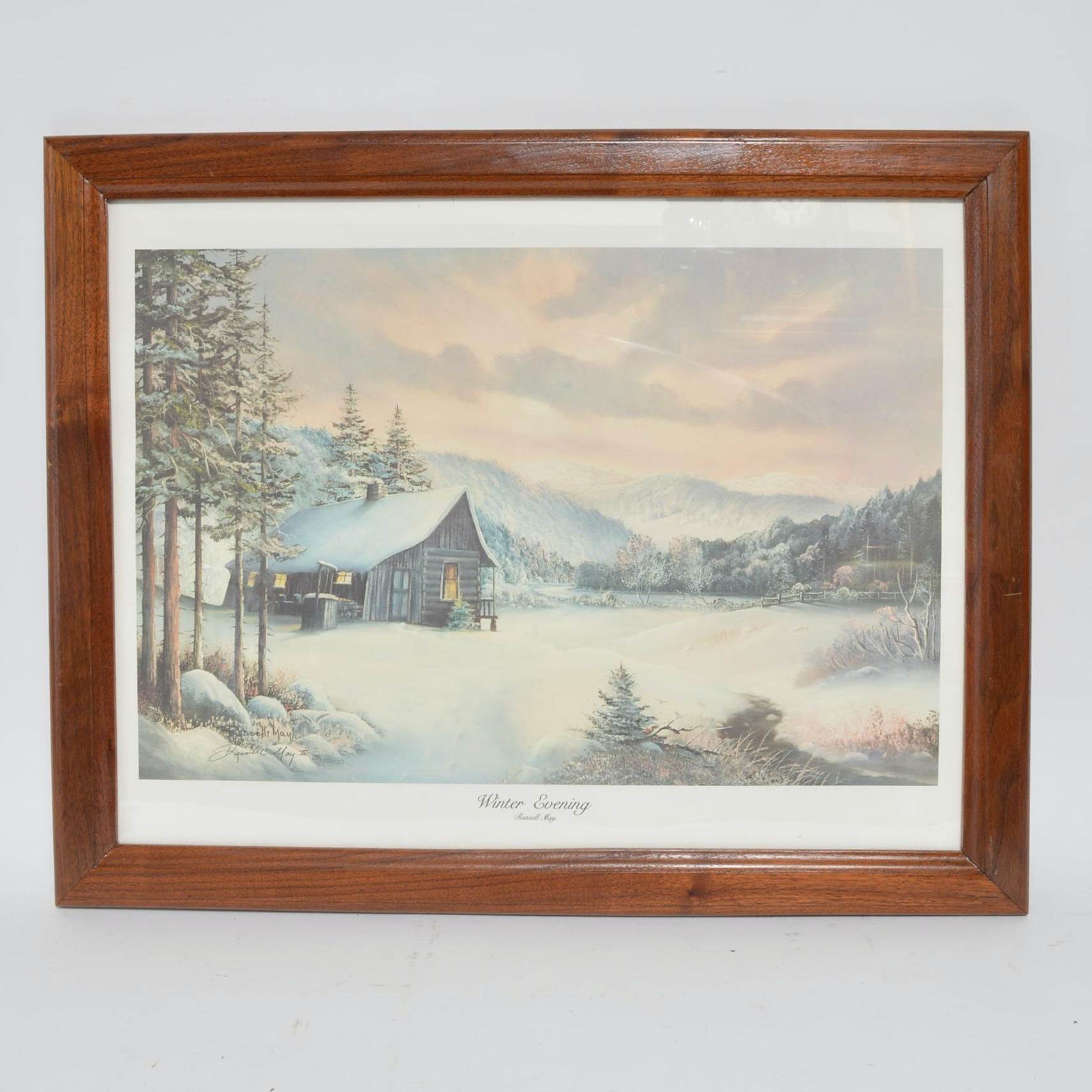 "Russell May Limited Edition Offset Lithograph ""Winter Evening"""