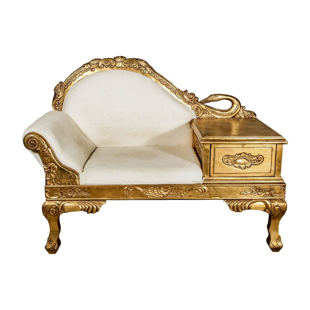 Swan Neck Carved Giltwood Telephone Bench