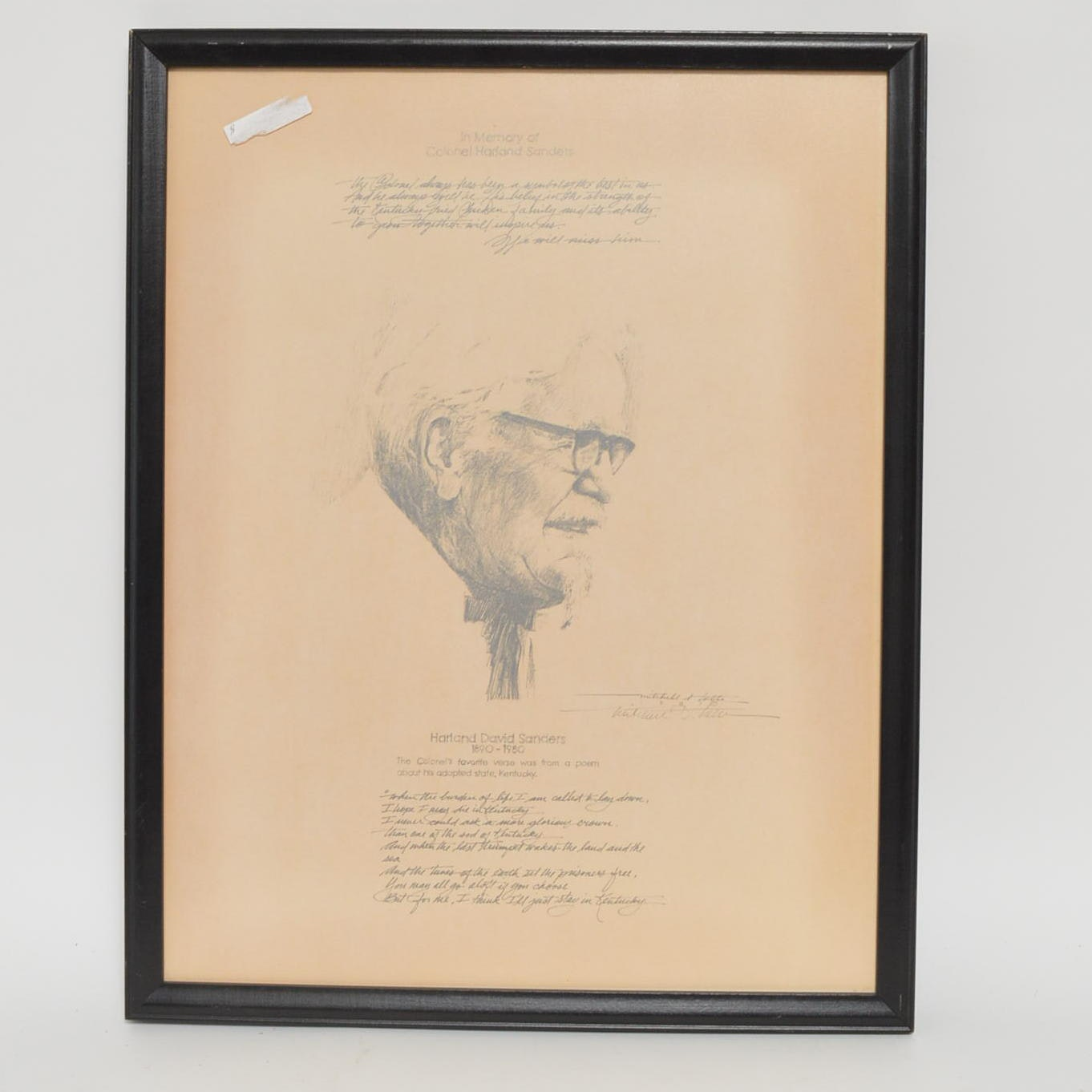 "Mitchell Tolle Offset Lithograph ""Harland David Sanders"""
