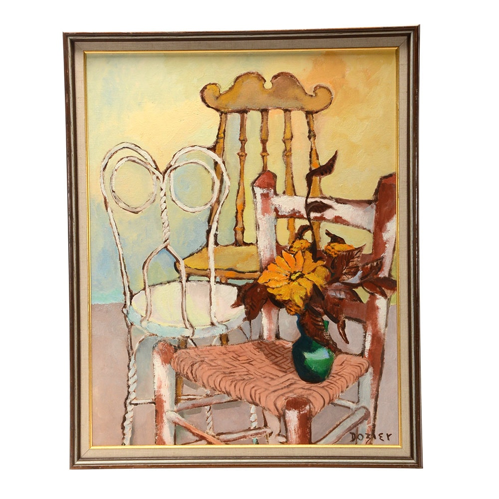 June Dozier Original Still Life Oil on Canvas Board