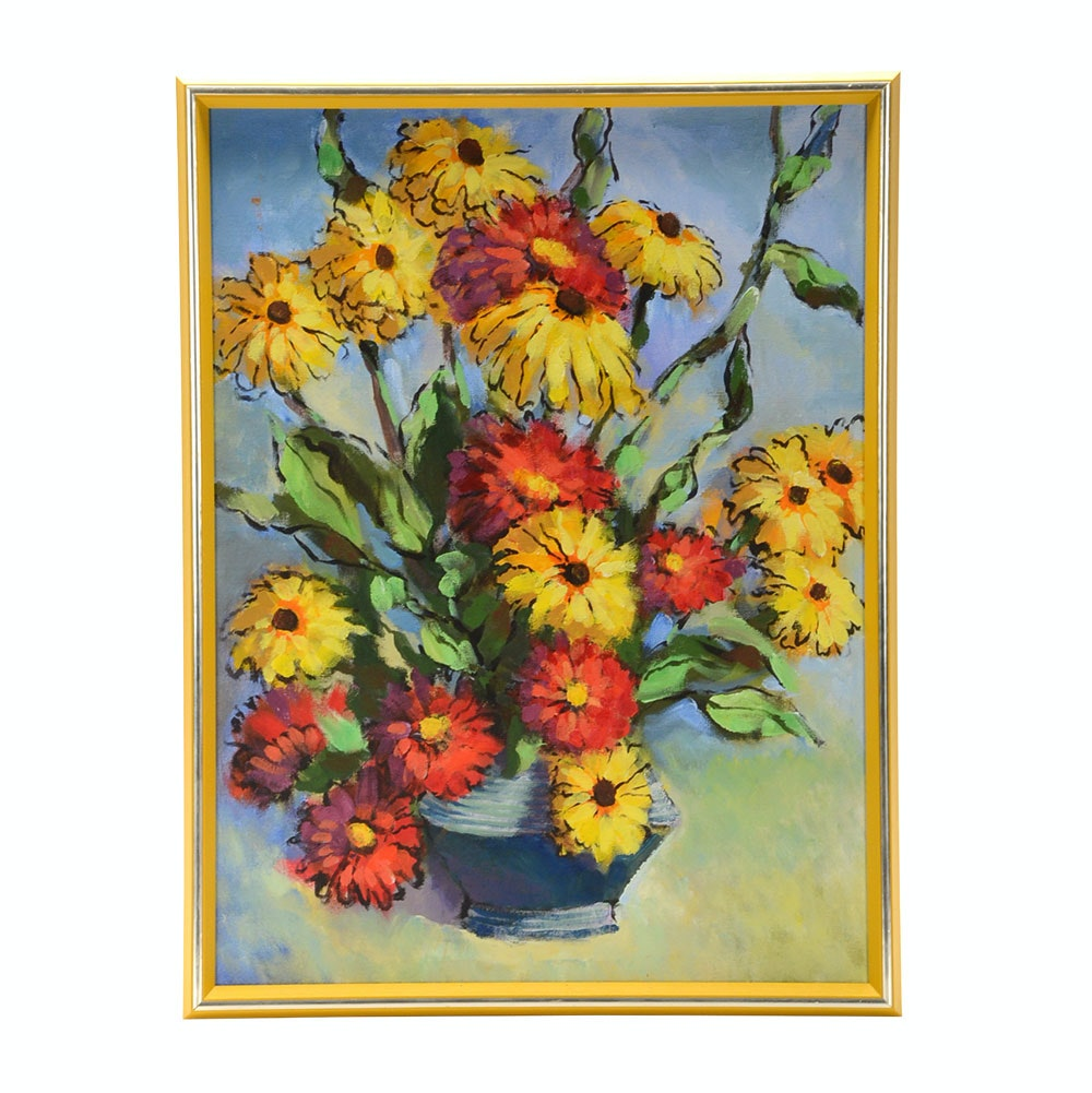 Original Oil Floral Still Life Painting on Canvas Board