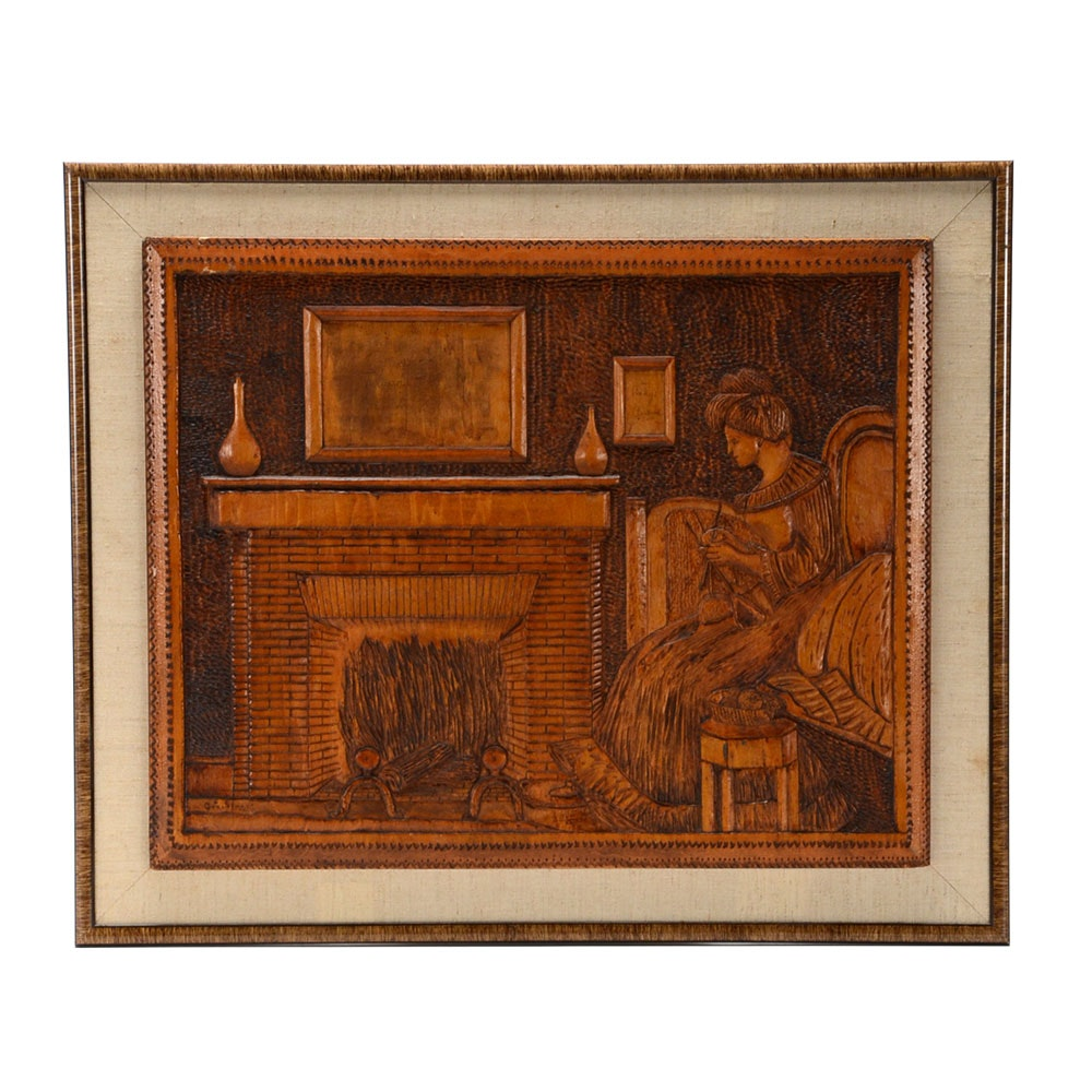 Hand-Carved Bas-Relief Wooden Wall Panel of Knitting Mother