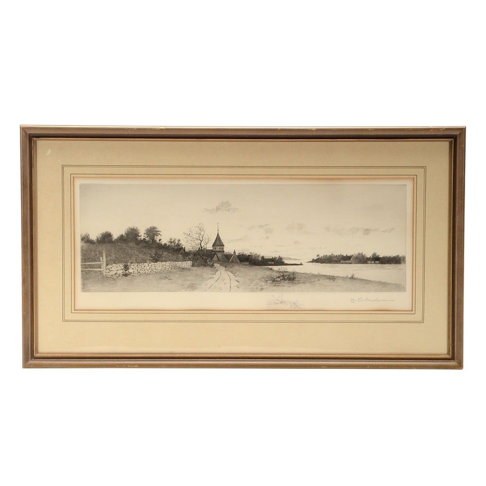Anderson Signed 1890 Etching with Etched Remarque