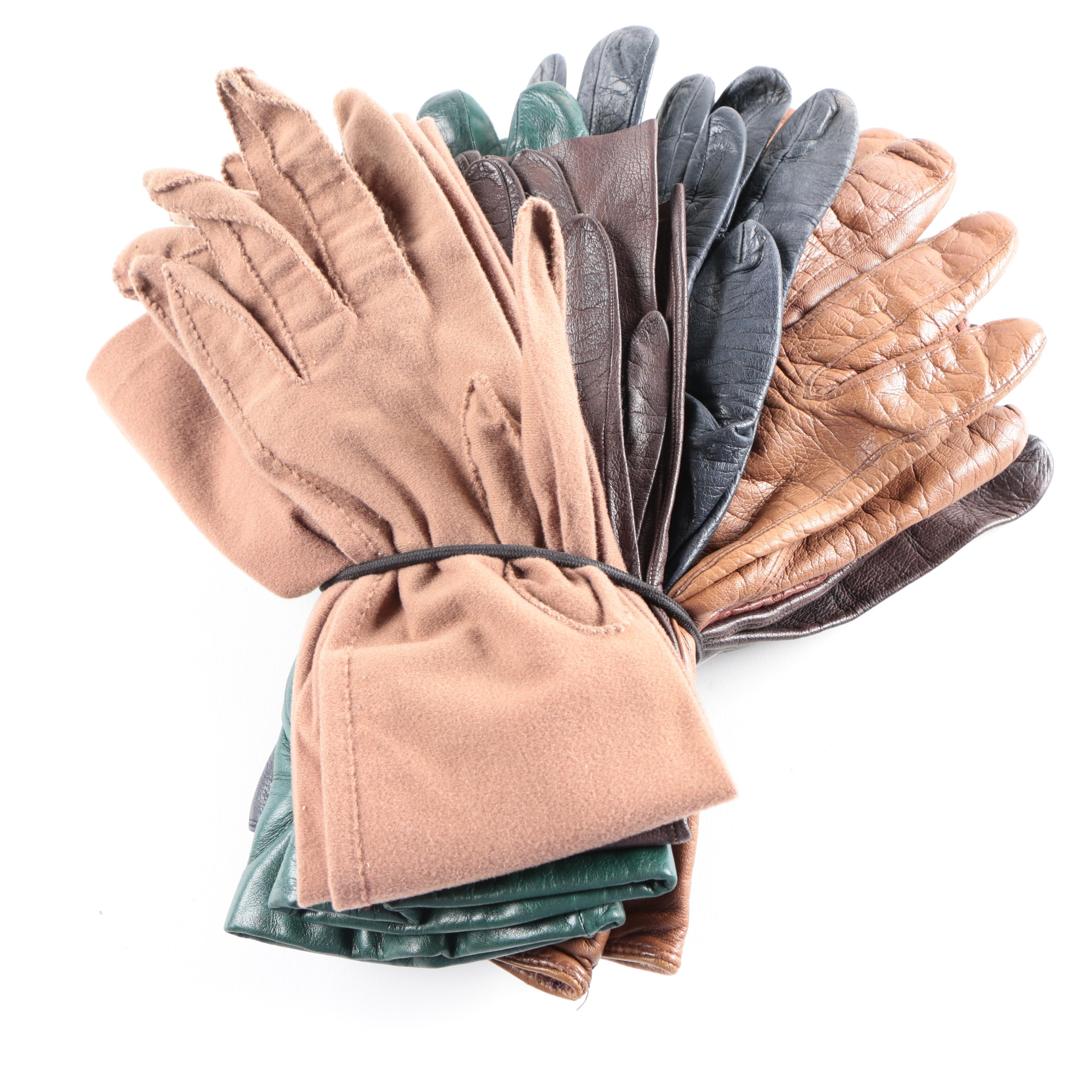 Vintage Ladies' Leather and Cloth Gloves