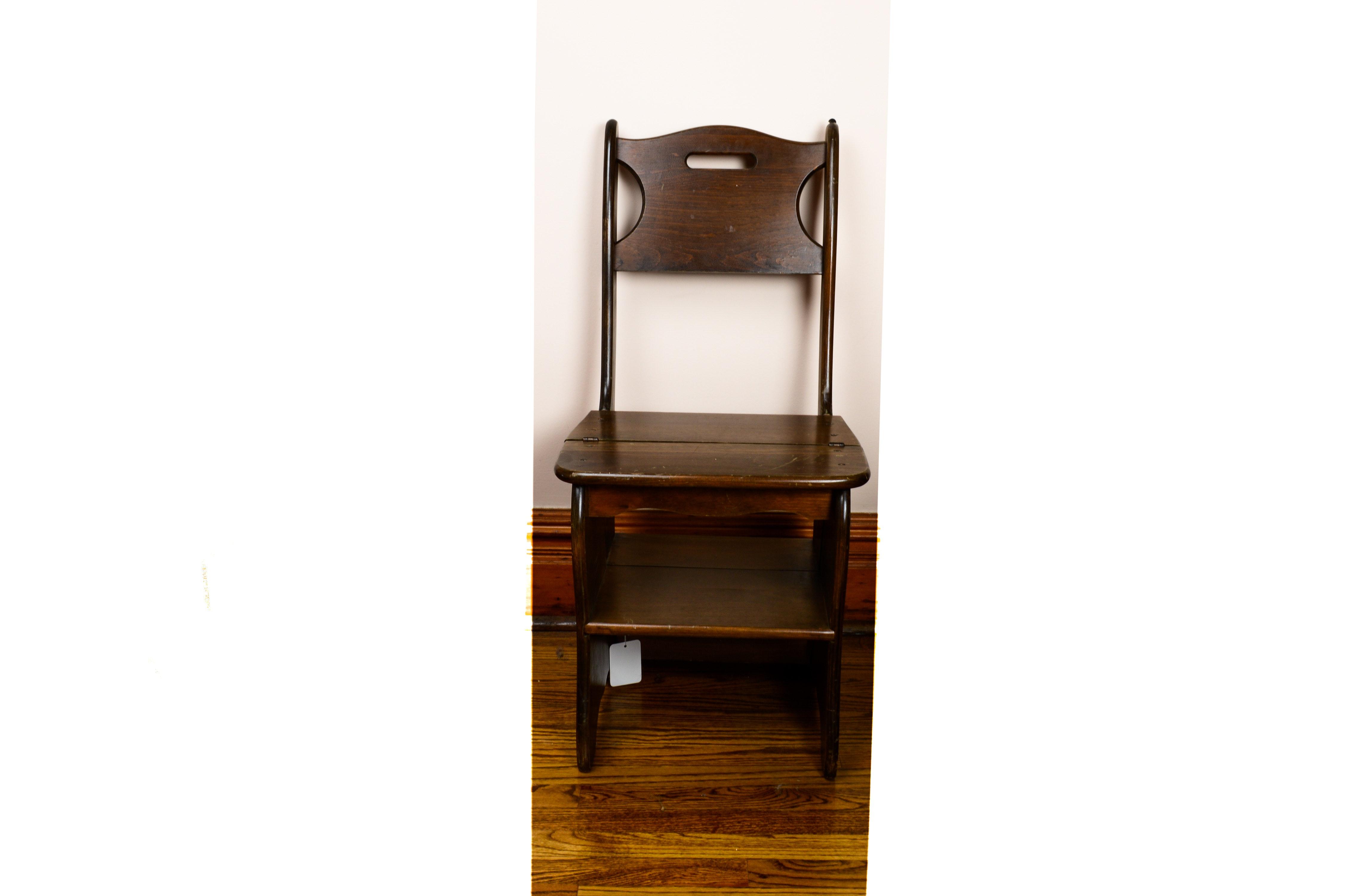 Franklin Style Metamorphic Library Chair Ladder Ebth Rh Ebth Com Chair  Ladder Combination Benjamin Franklin Library