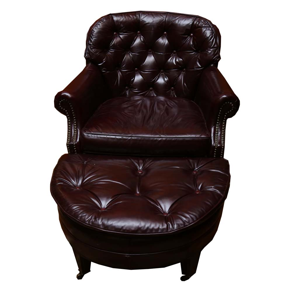 Distinction Furniture Co Vintage Leather Club Chair and Ottoman