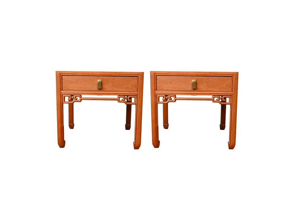 Chinese Inspired Teak End Tables