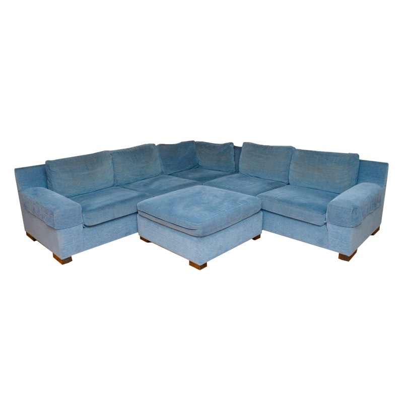 Blue Velour Sectional Sofa and Ottoman