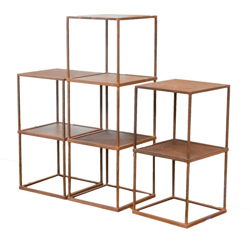 Modular Distressed Metal Shelves
