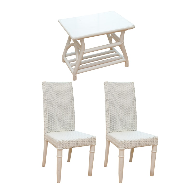 Pair of White Wicker Chairs with Outdoor Table