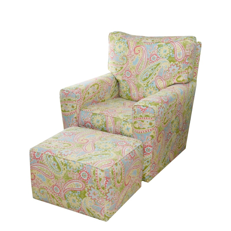 Paisley Arm Chair With Ottoman