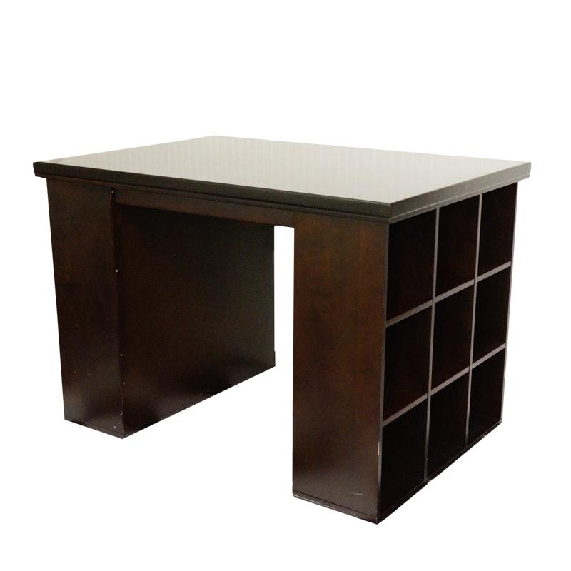 Crafting Desk With Storage in Espresso Tone