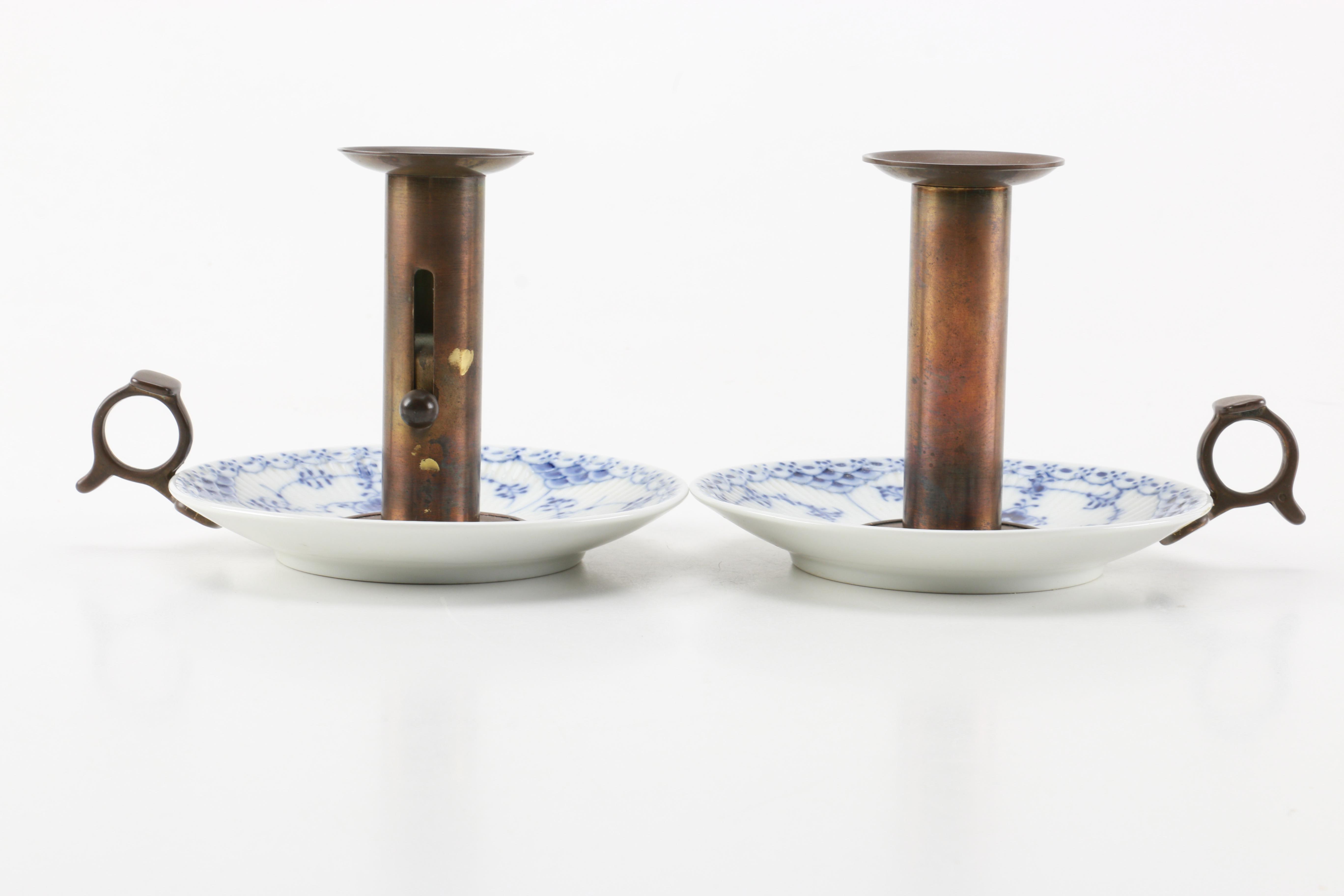 Pair of Brass and Porcelain Candlesticks by Royal Copenhagen