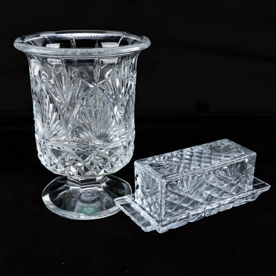 Shannon Crystal Vase And Butter Dish Ebth