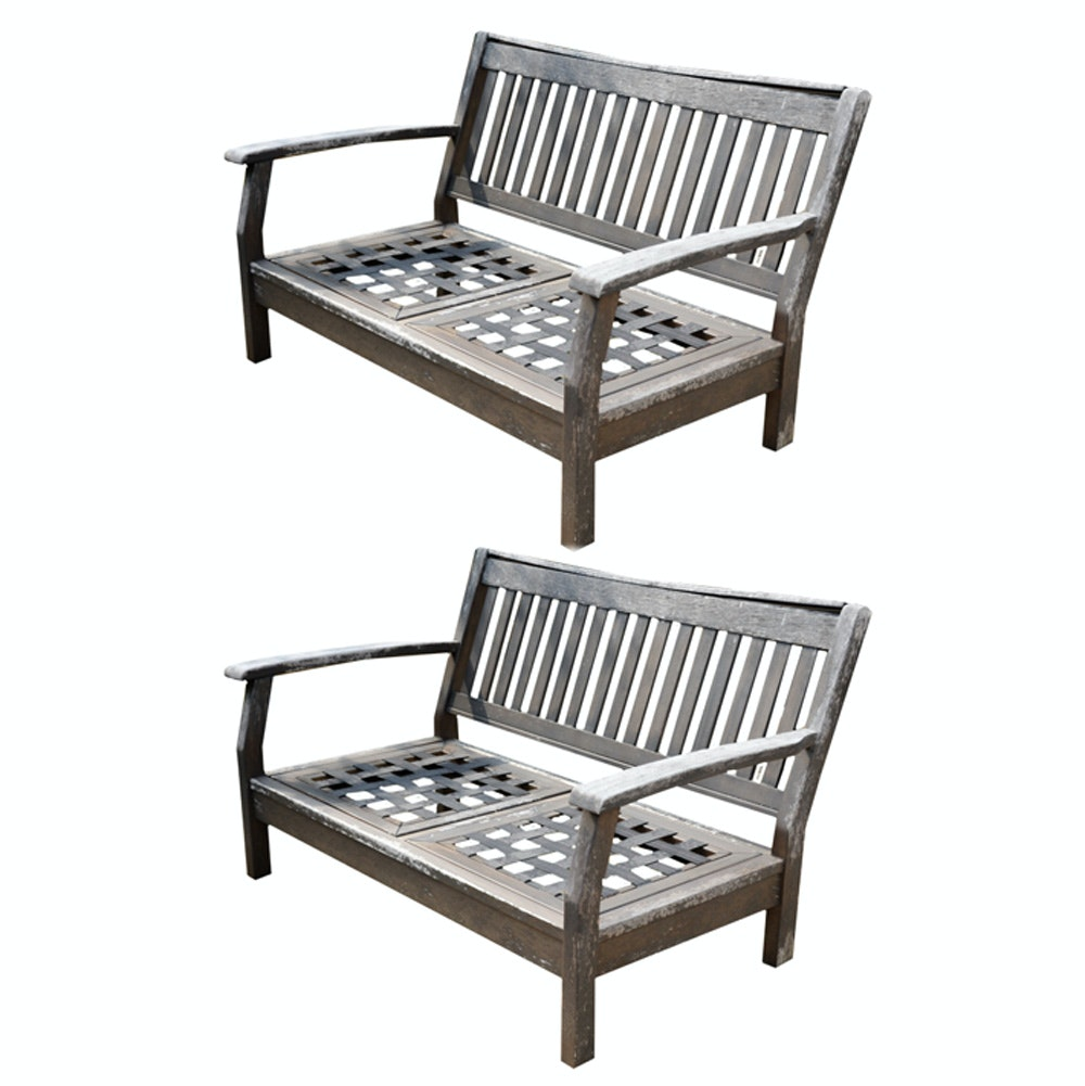Pair of Outdoor Wooden Benches by New River