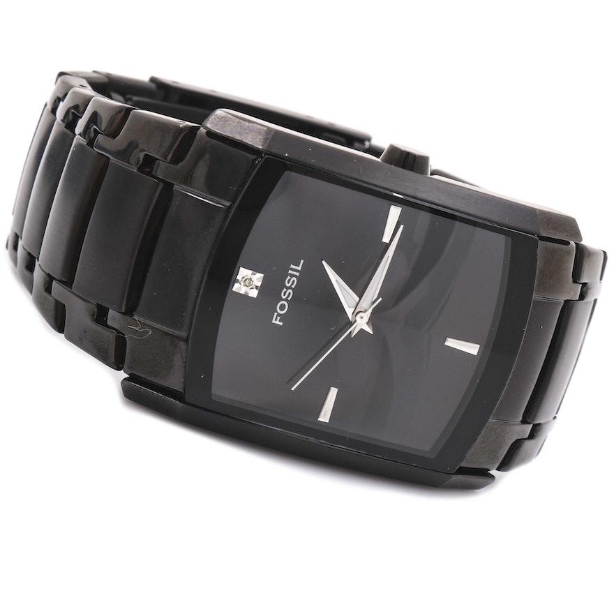0f08ac500cc Fossil Stainless Steel Diamond Wristwatch   EBTH