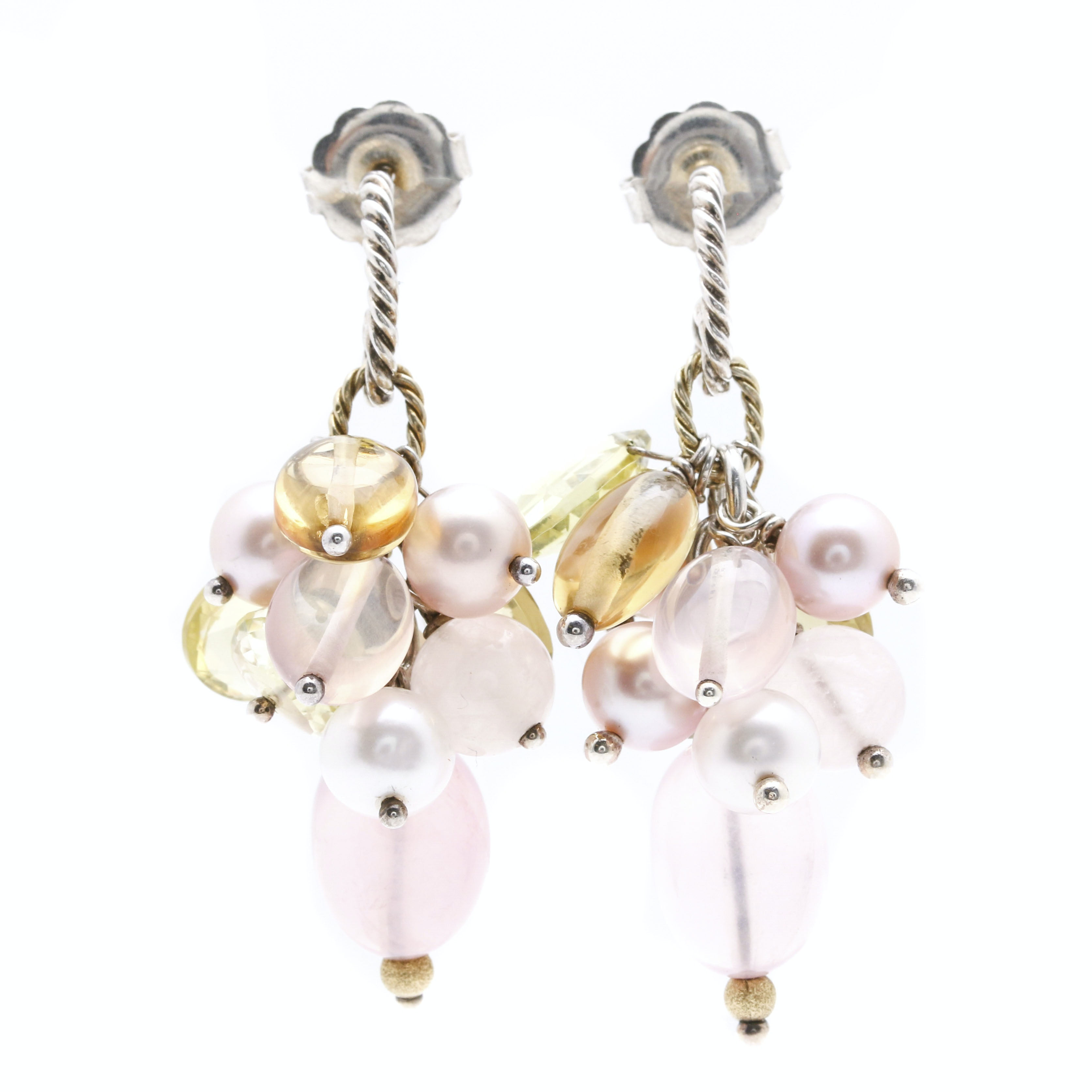 David Yurman Sterling Silver and 18K Yellow Gold Dangle Earrings Featuring Assorted Gemstones