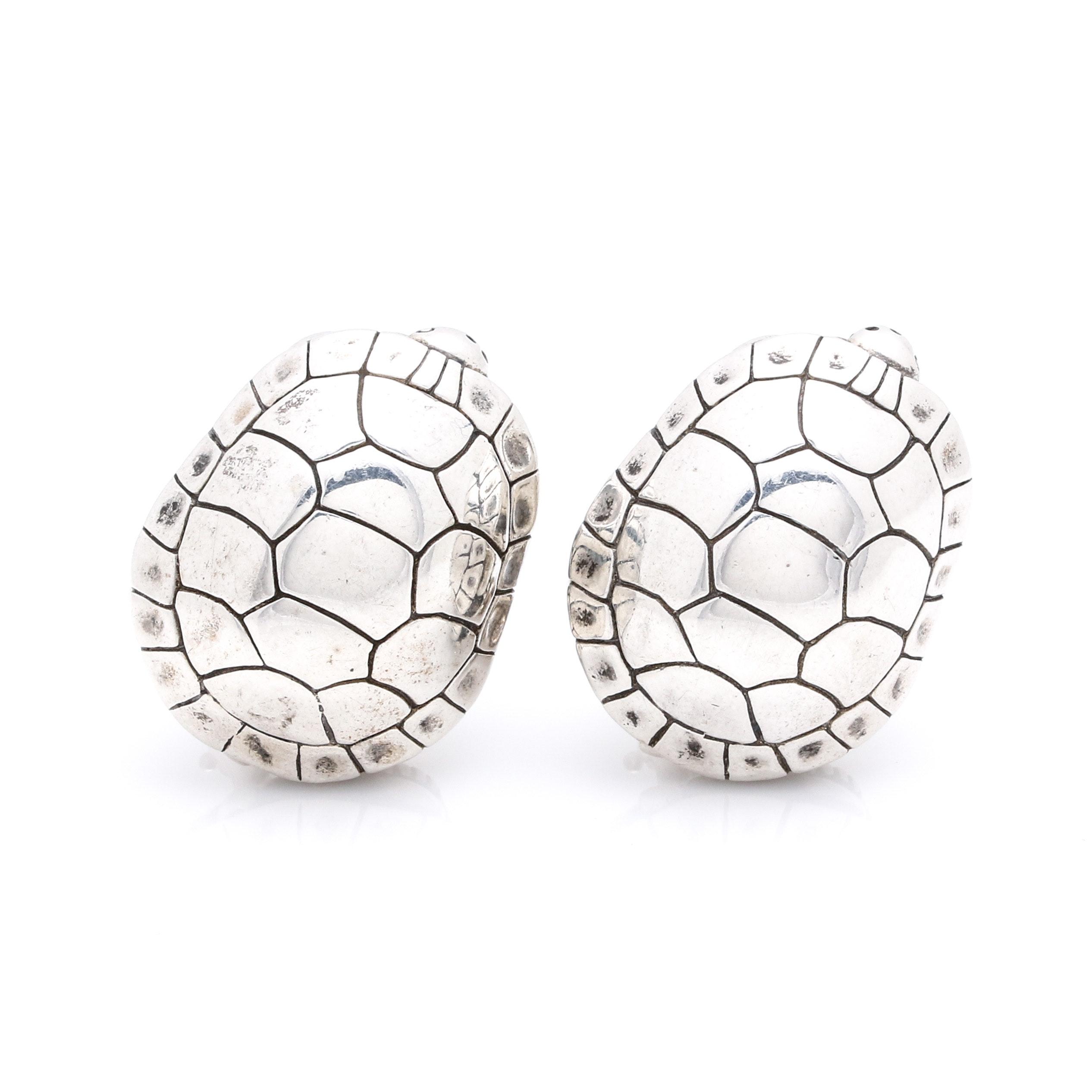 1996 B. Kiesel-Stein-Cord Sterling Silver Turtle Clip-on Earrings