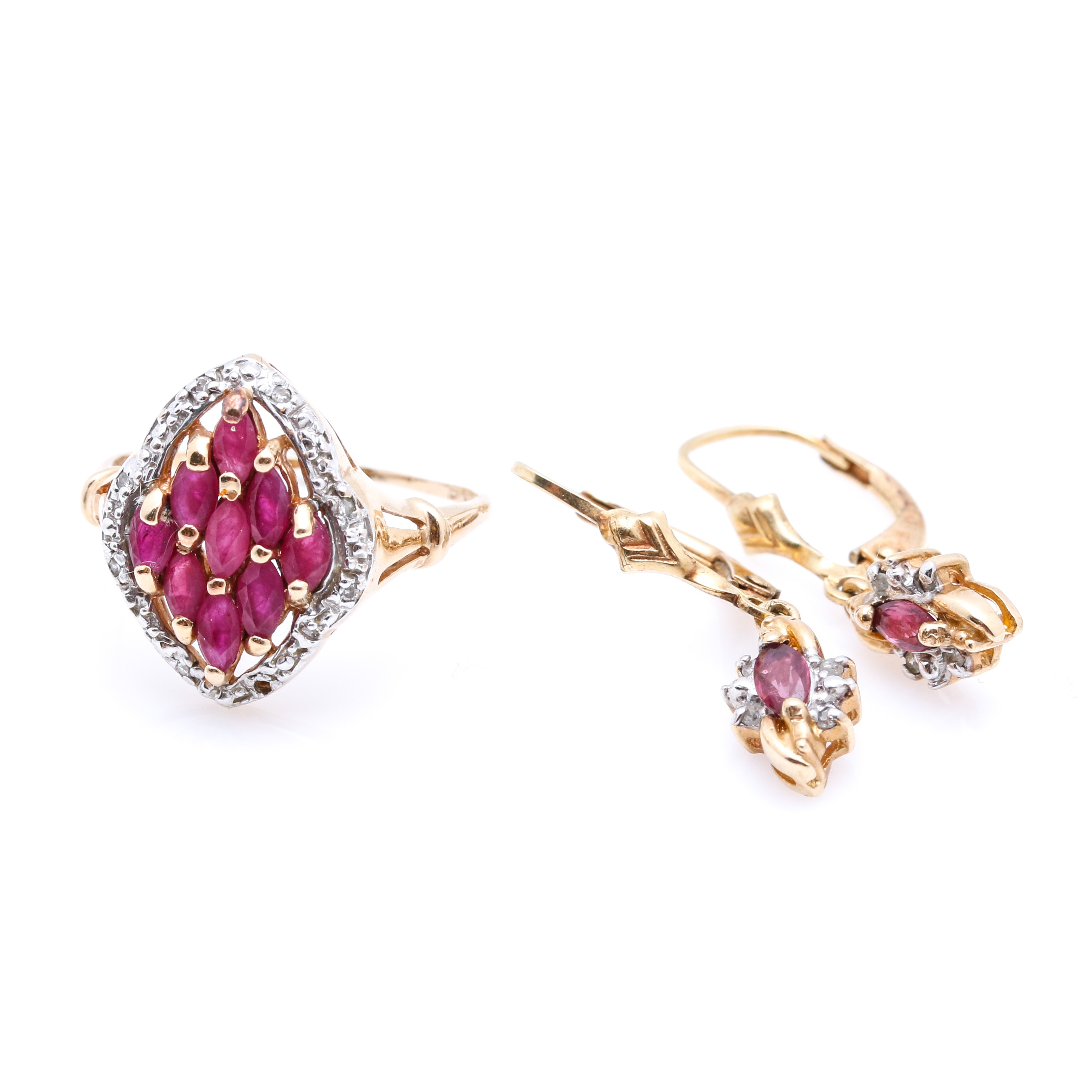 10K Yellow Gold Ruby and Diamond Ring and Earrings Set