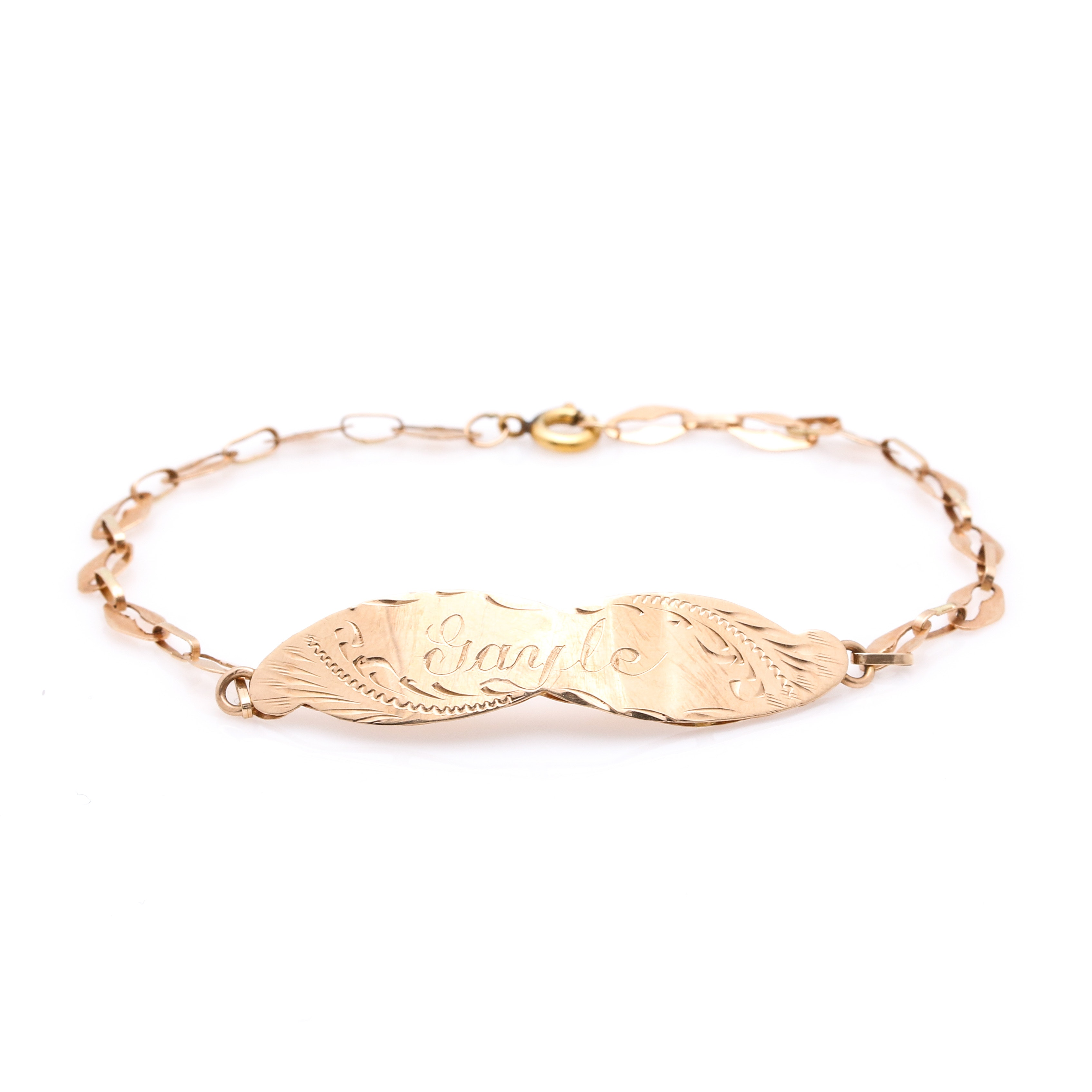 14K Yellow Gold Engraved Bracelet
