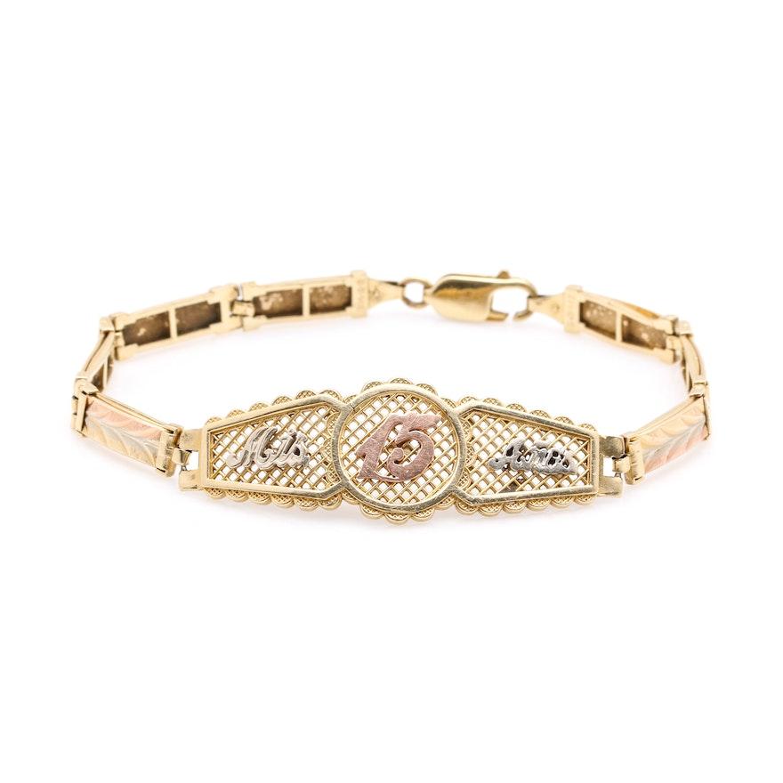 14k Tricolor Gold Quinceañera Bracelet