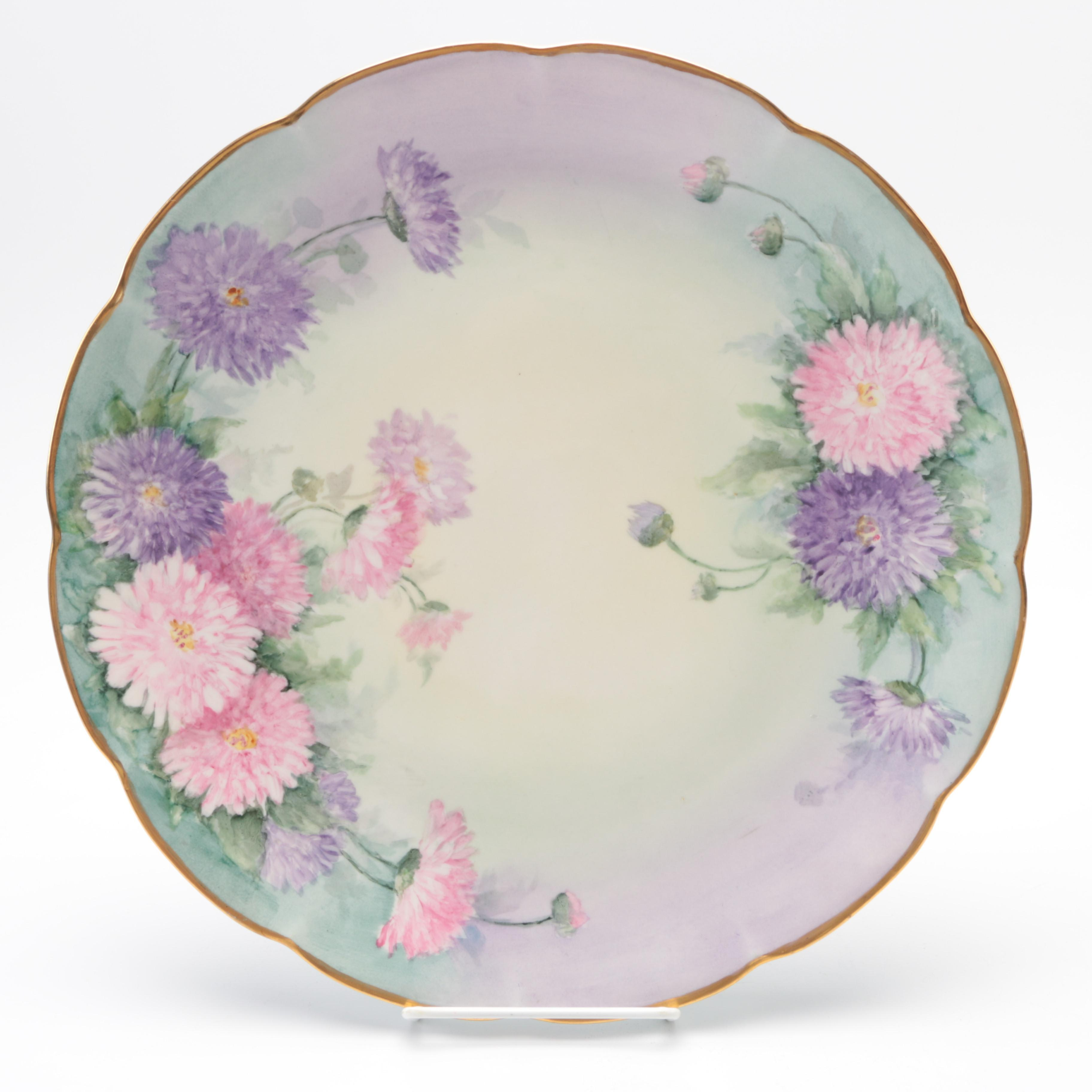 Porcelain Hobbyist Hand-Painted  Floral Plate