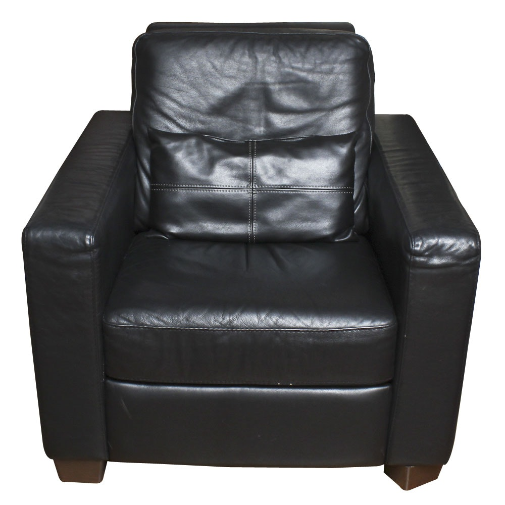 Modern Style Black Leather Accent Chair