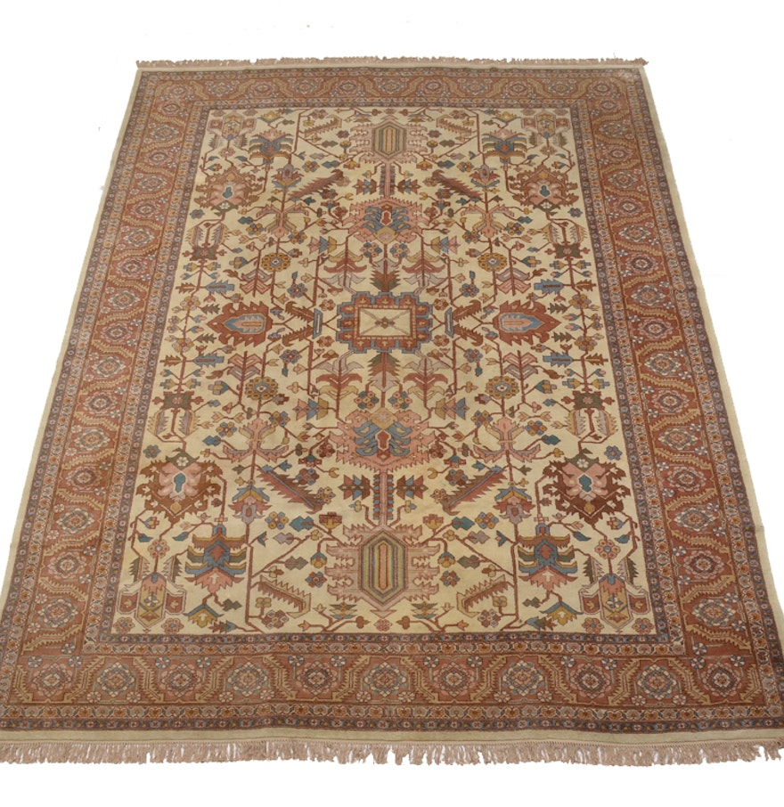 Hand Knotted Persian Wool Area Rug Ebth: Semi-Antique Hand-Knotted Heriz Wool Area Rug : EBTH