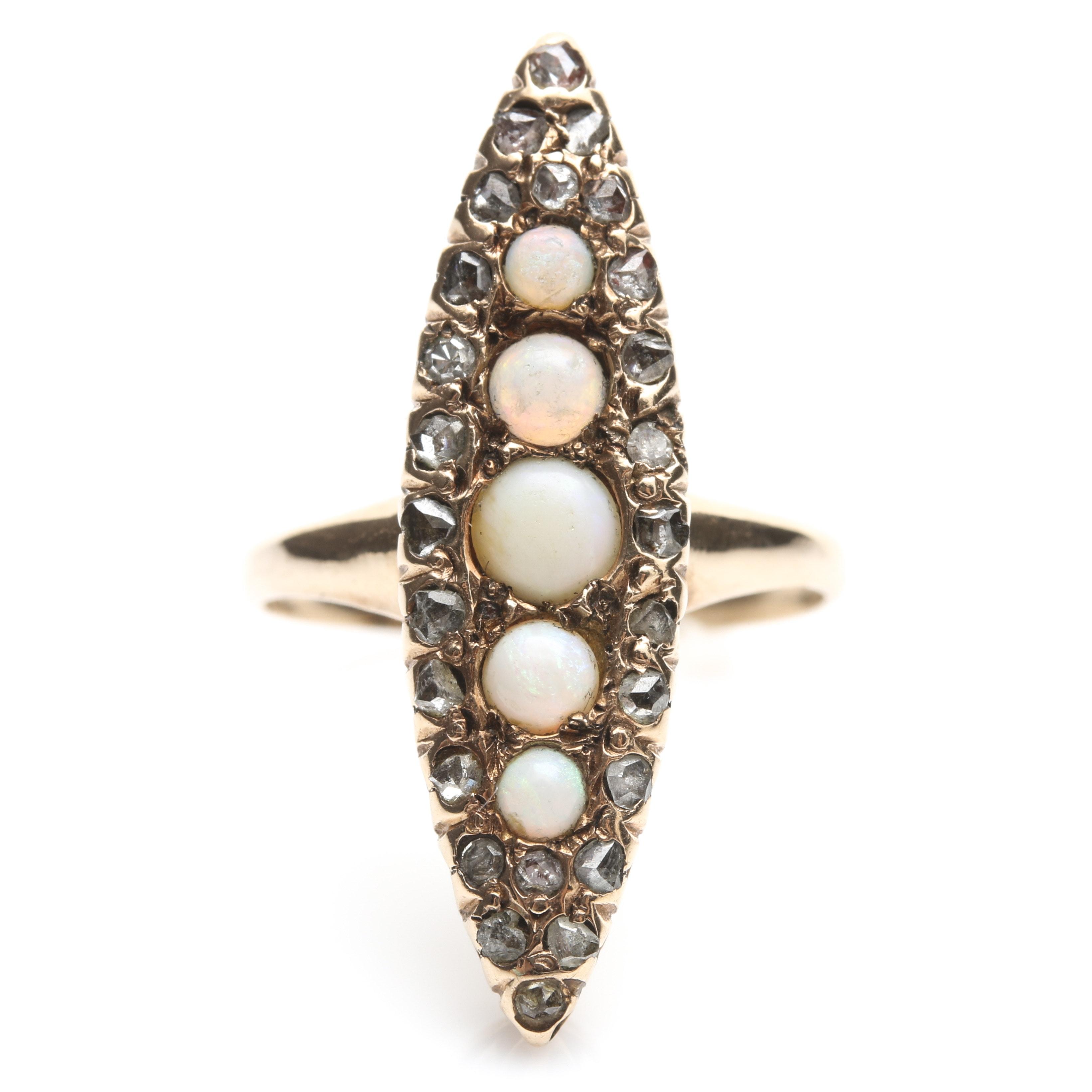 10K Yellow Gold Opal and Mine Cut Diamond Ring