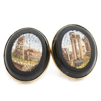 10K and 14K Yellow Gold Micro Mosaic Grand Tour Earrings