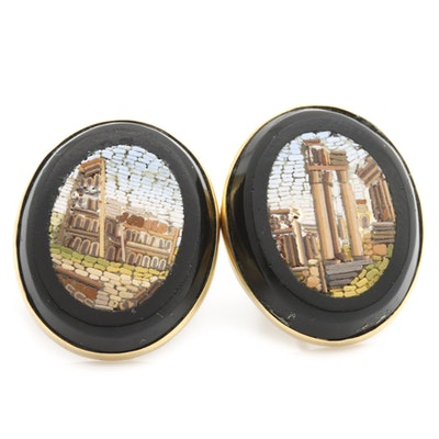 10K and 14K Yellow Gold Micro Mosaic Grand Tour Earrings