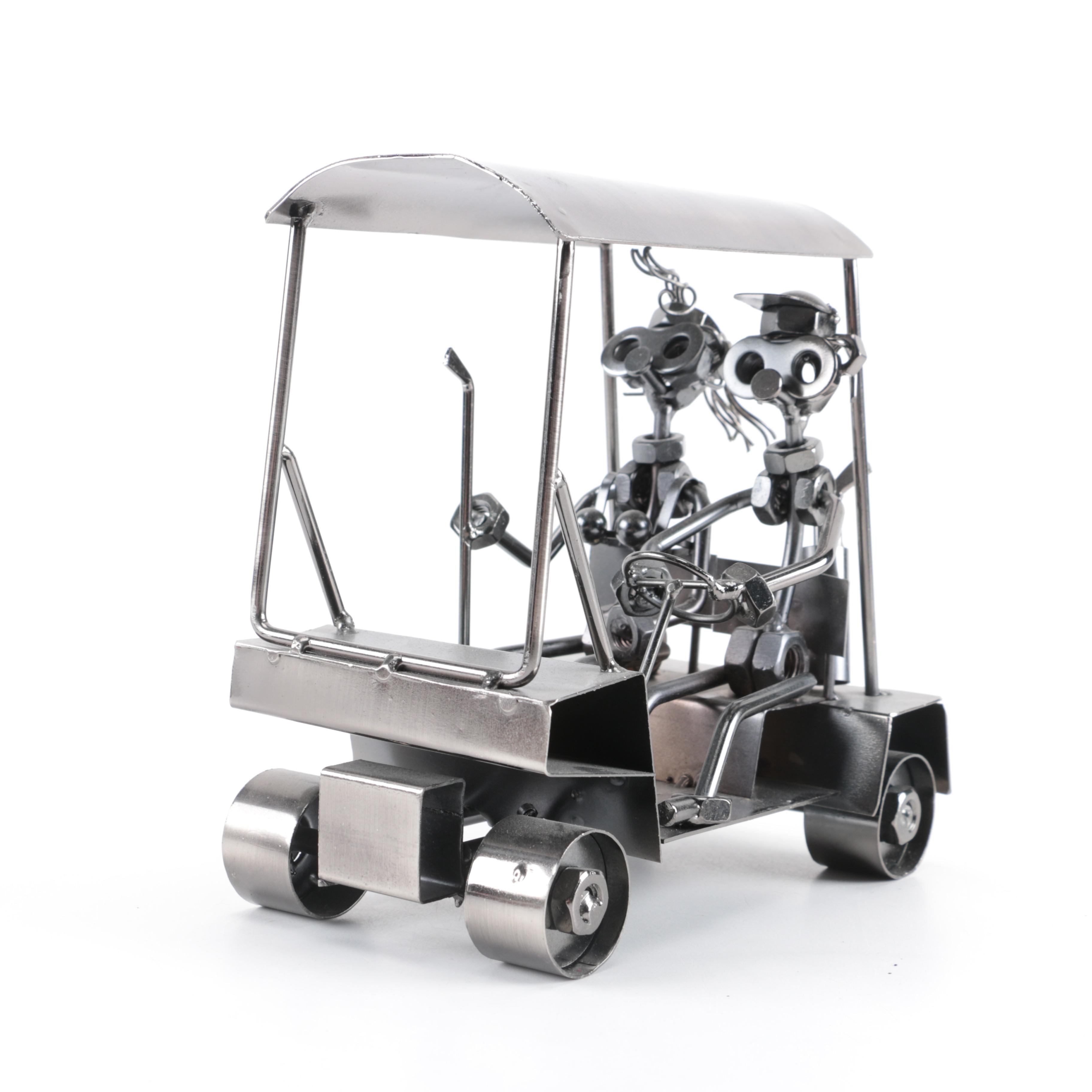 Golf Cart Metal Hardware Sculpture