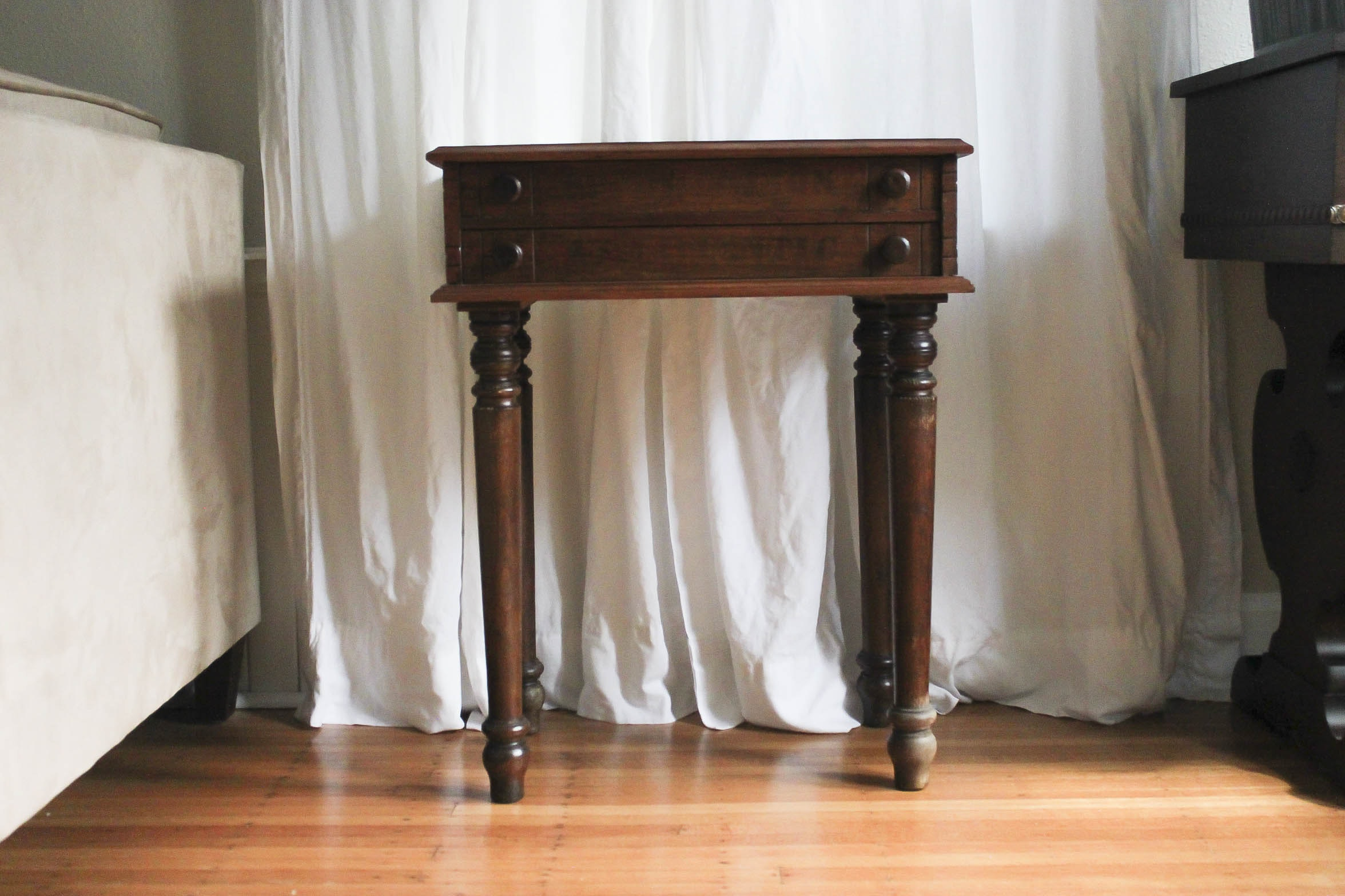 Vintage Partitioned Walnut Accent Table ...