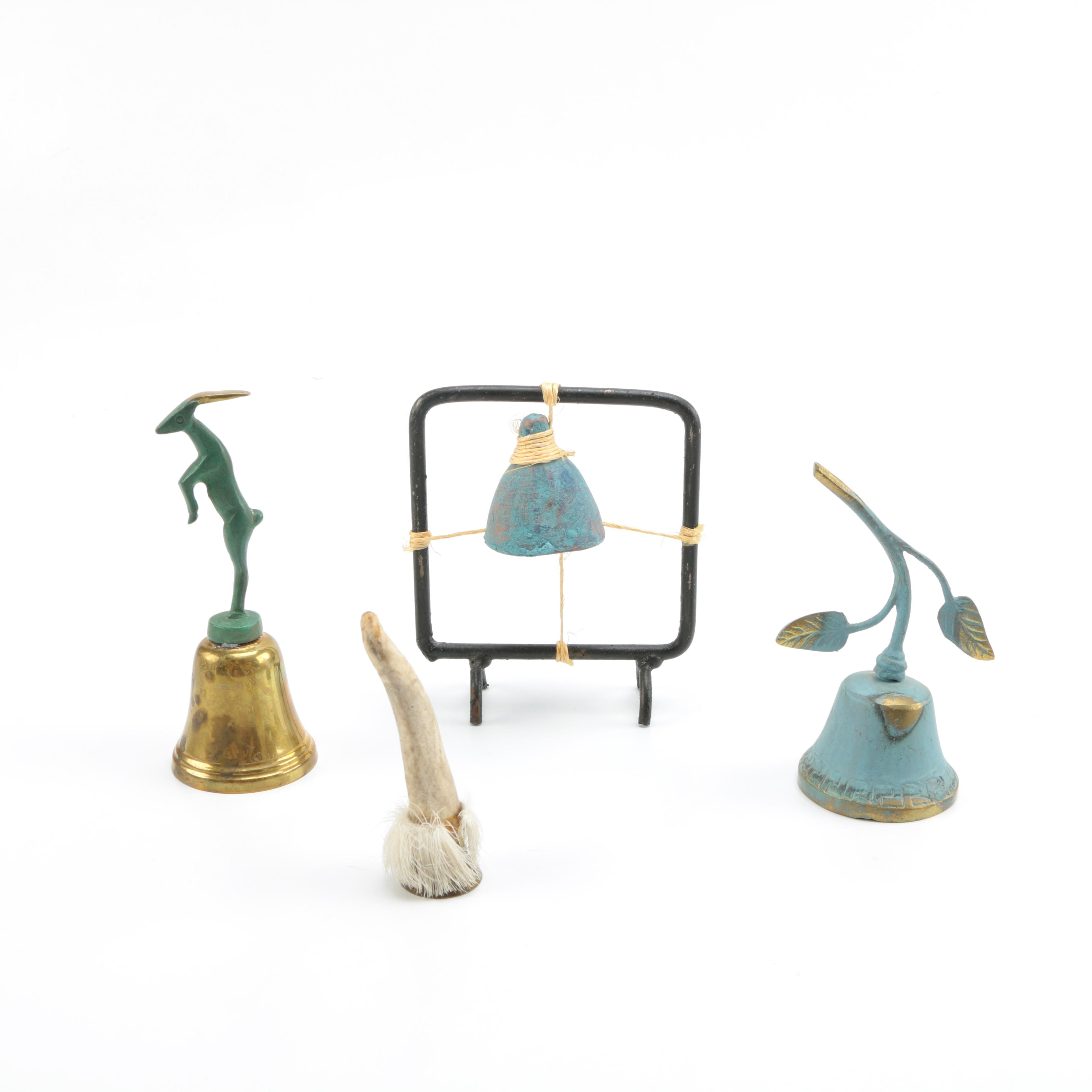 Assorted Bells Featuring Brass and Antler