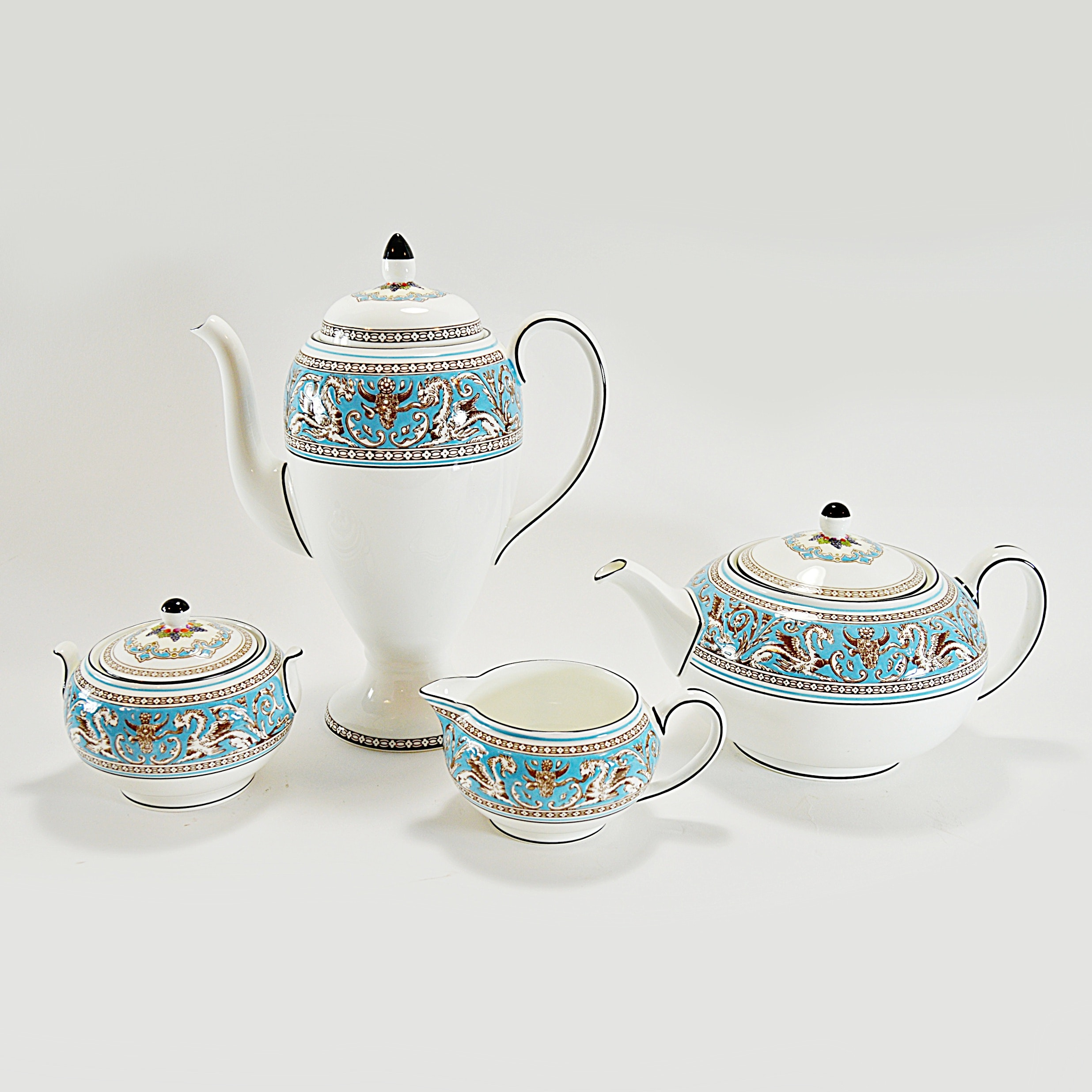 "Wedgwood ""Turquoise Florentine"" Coffee and Tea Serving Set"