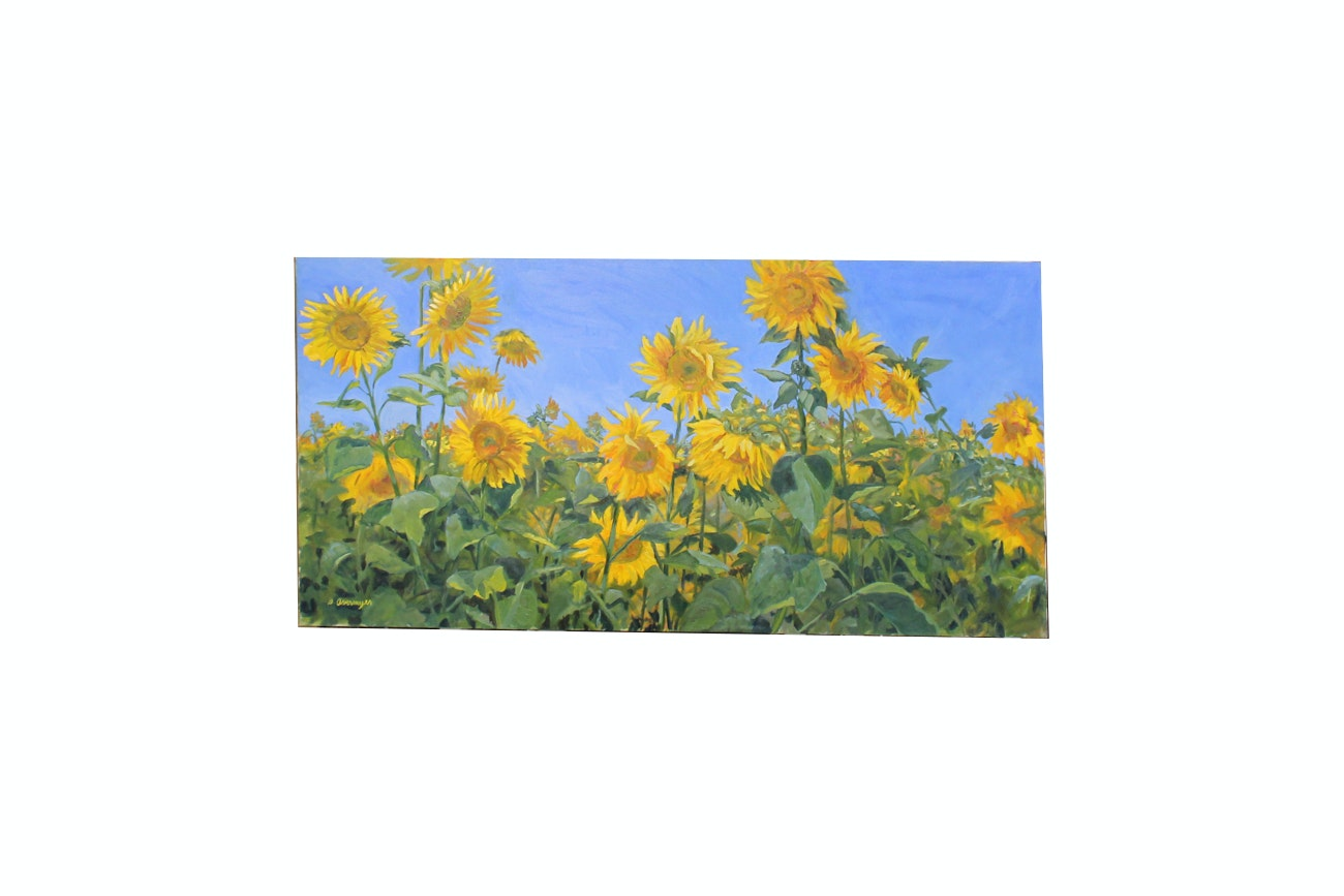 "Original Diane Overmyer Oil Painting ""Field of Sunshine"""