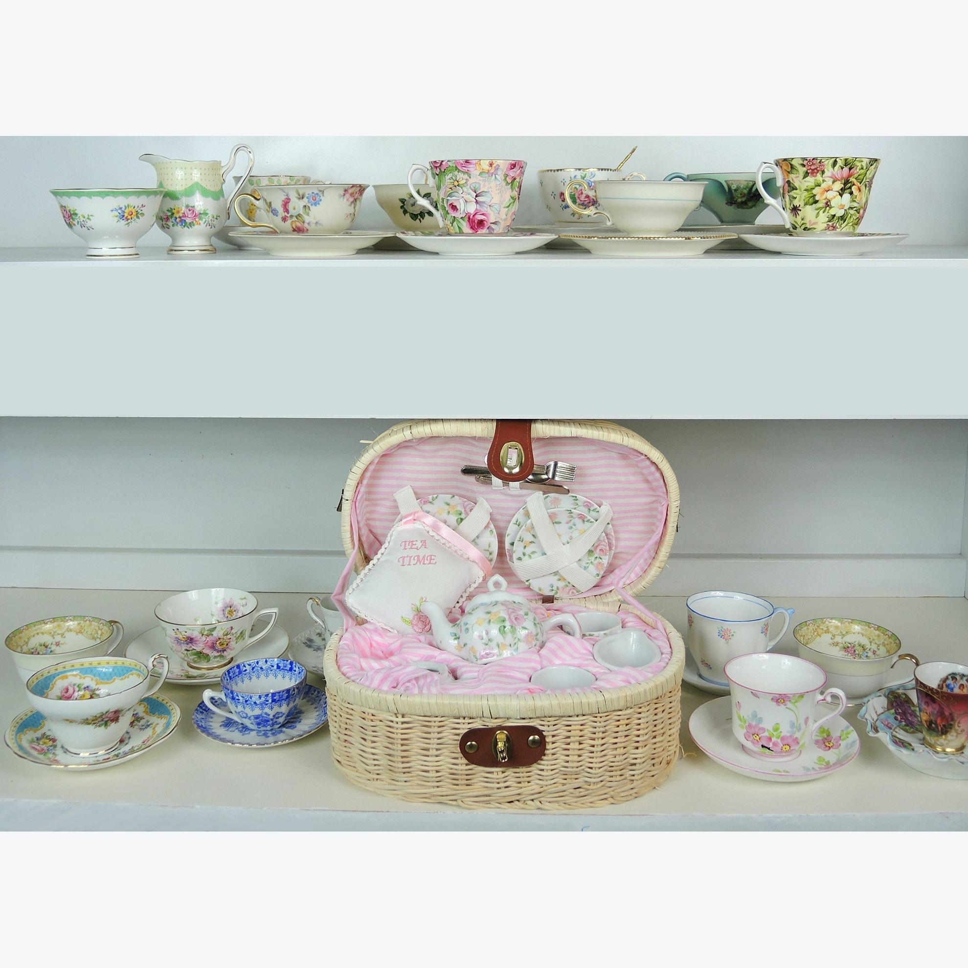 Porcelain Tea Cup Collection and Child's Tea Set