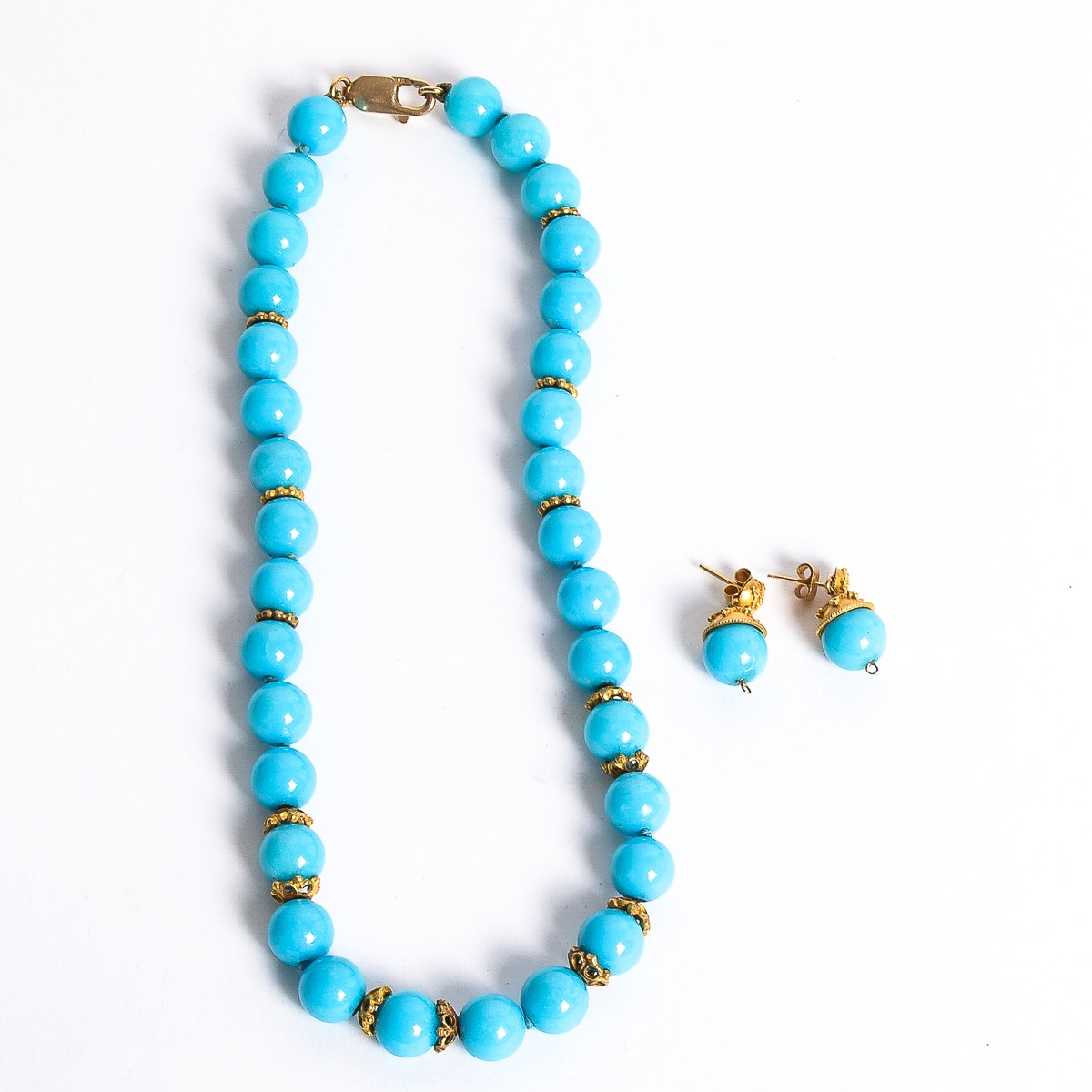 14K Yellow Gold and Teal Jade Beaded Demi Parure