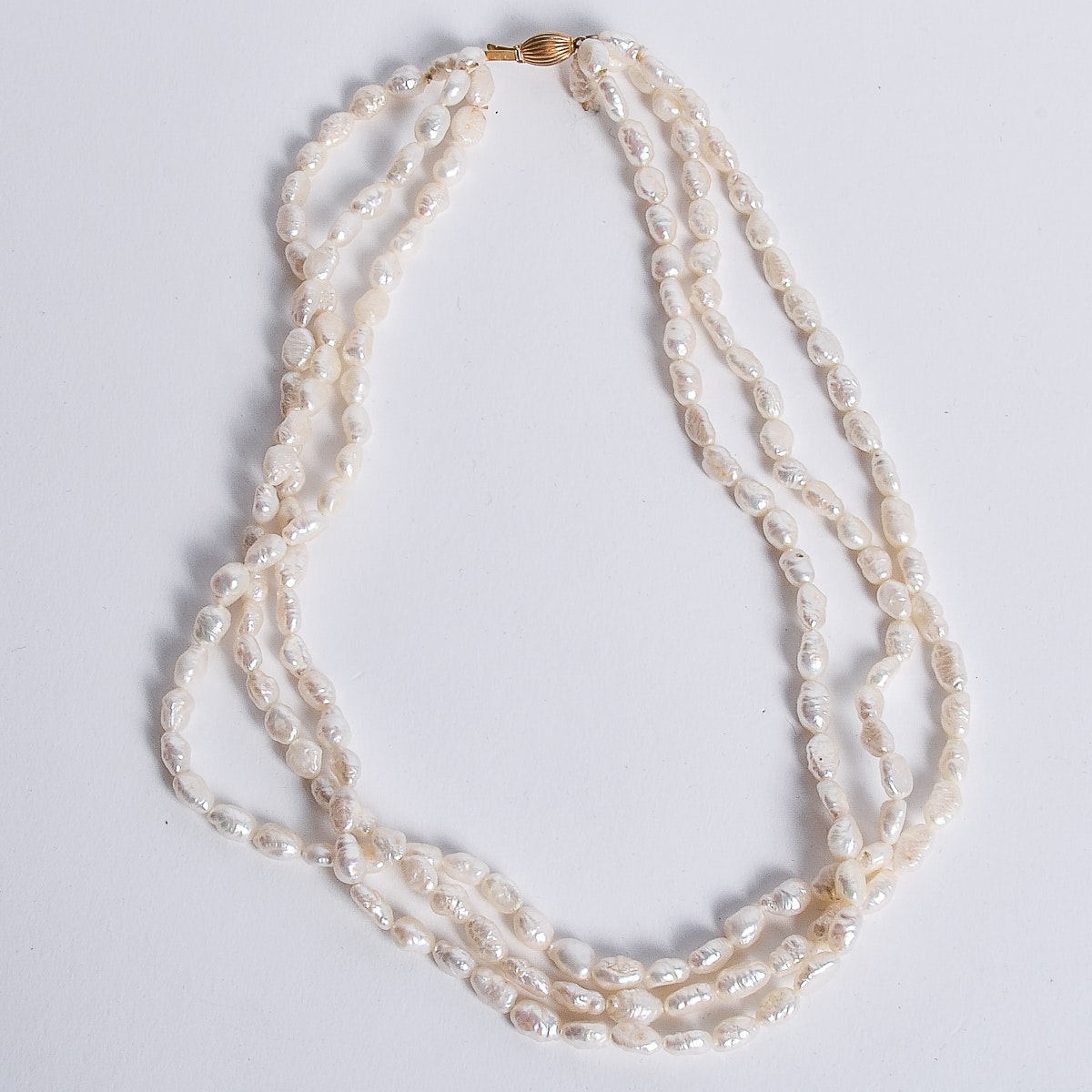 Vintage 14K Yellow Gold and Multi-Strand Freshwater Pearl Necklace