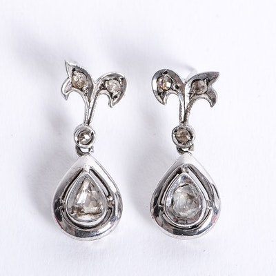 10K Antique White Gold and Rose Cut Diamond Drop Earrings
