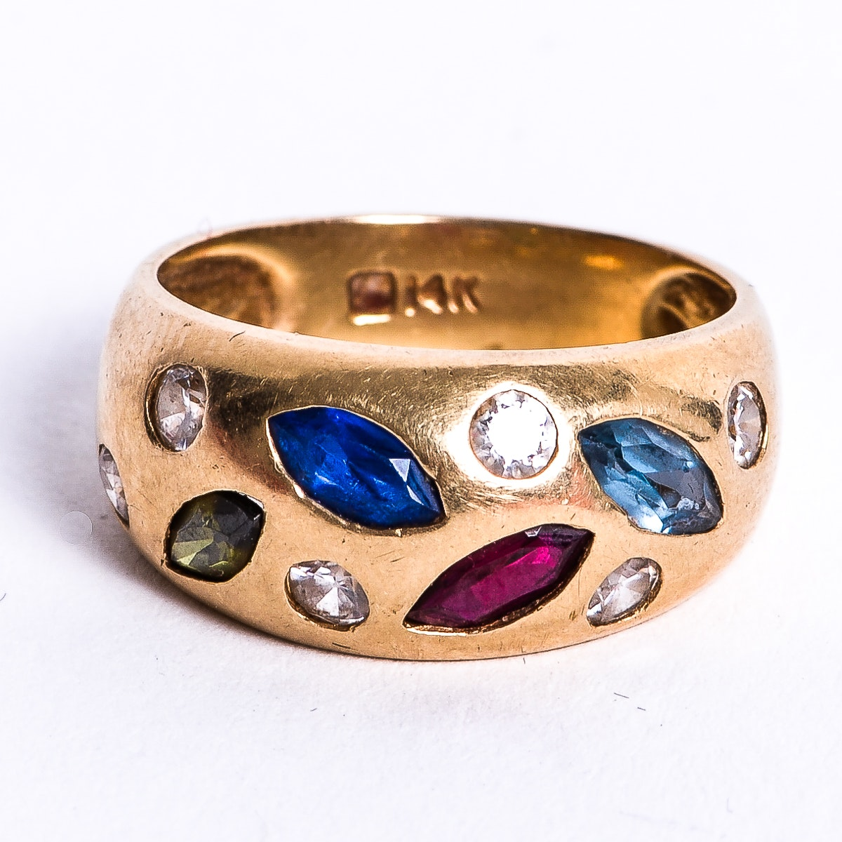 Vintage 14K Yellow Gold and Synthetic Multi-Stone Band