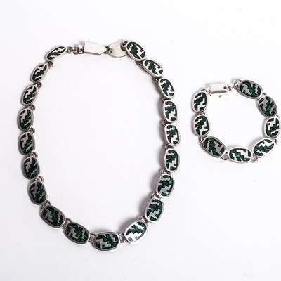 Sterling Silver and Inlaid Malachite Demi Parure