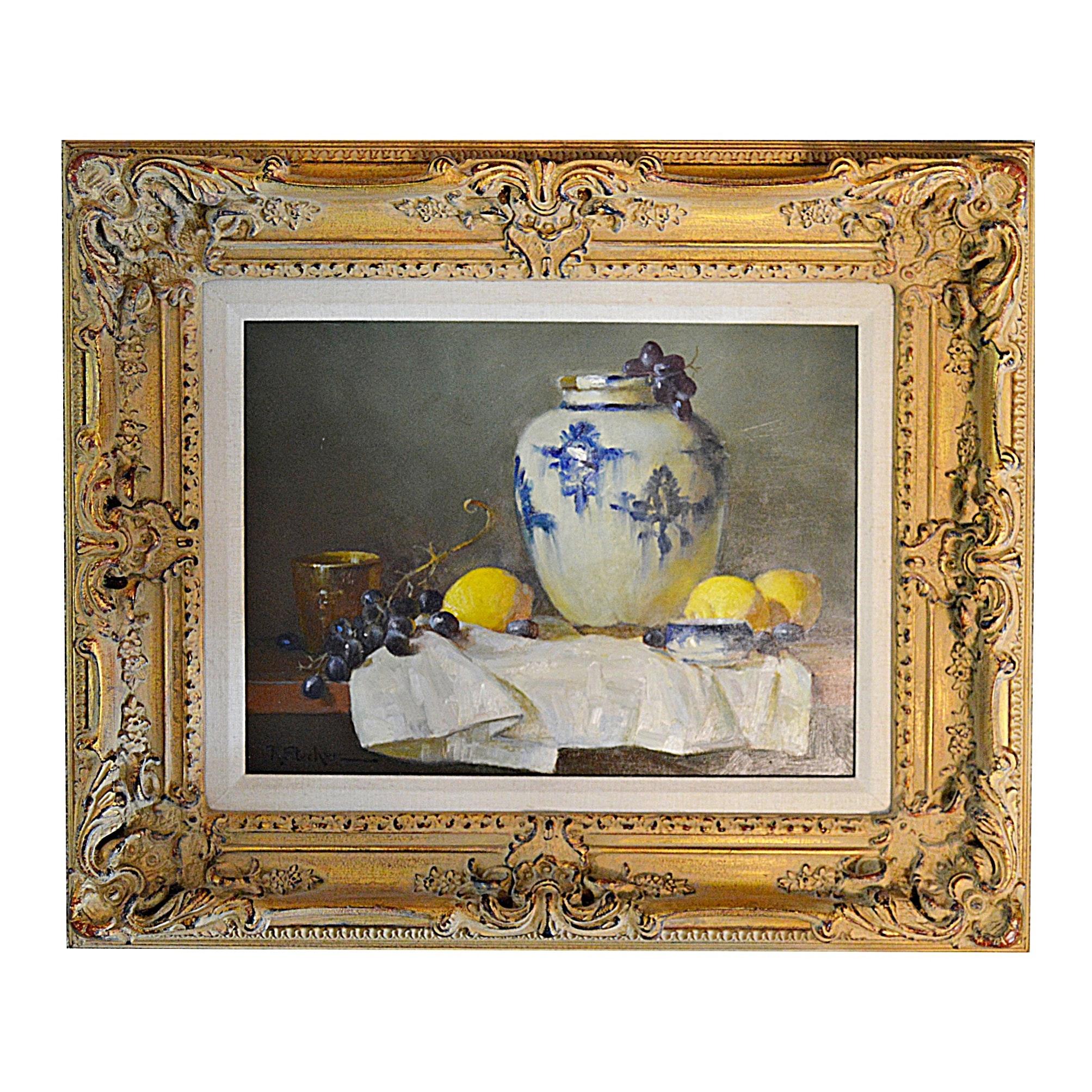 "Ruth Stecher Oil on Panel ""Persian Jar with Lemons"""