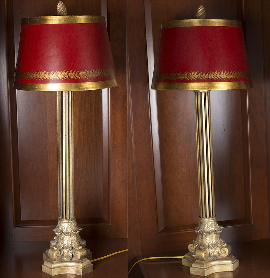 Gold Tone Table Lamps With Red Shades