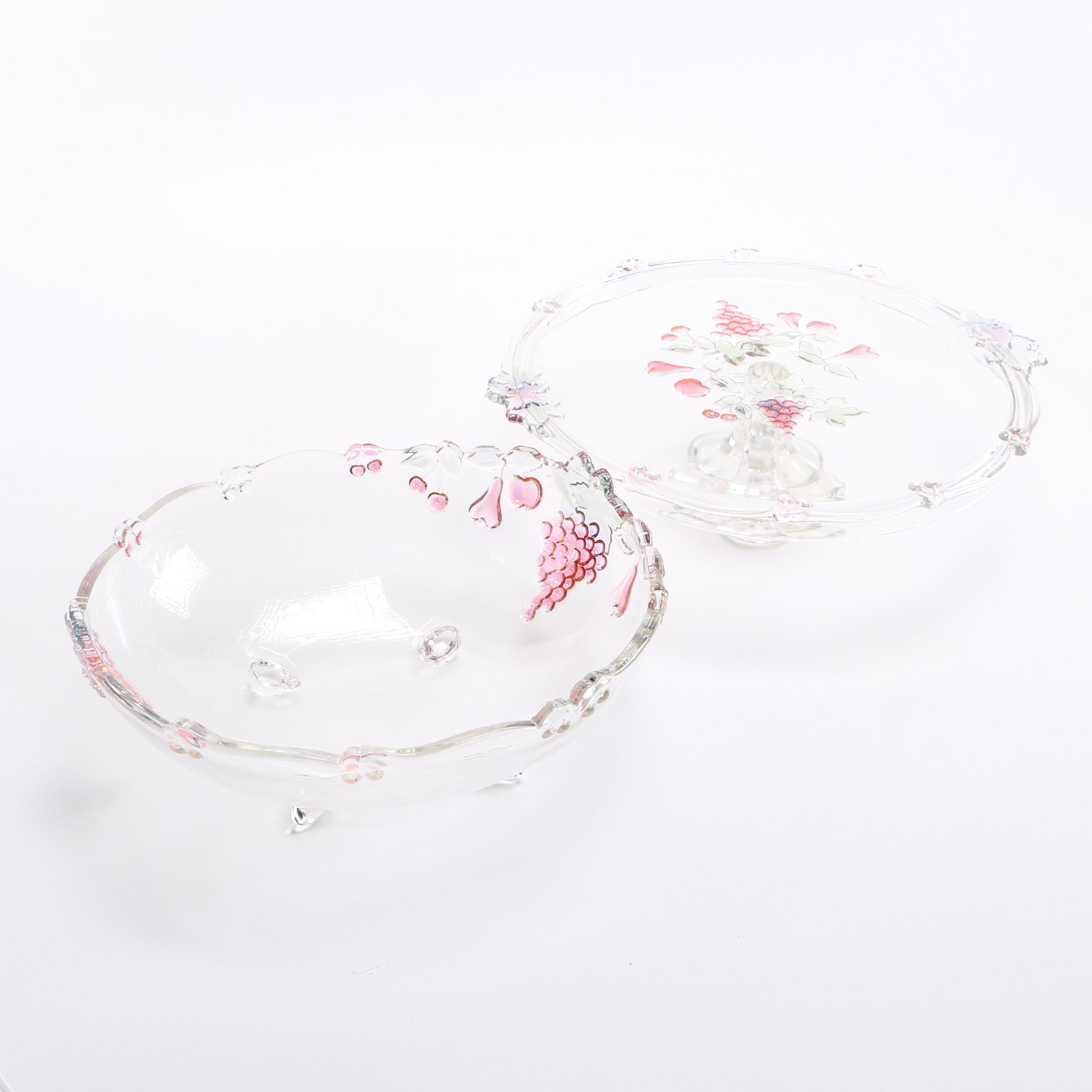Serving Bowl and Cake Stand With Fruit Pattern