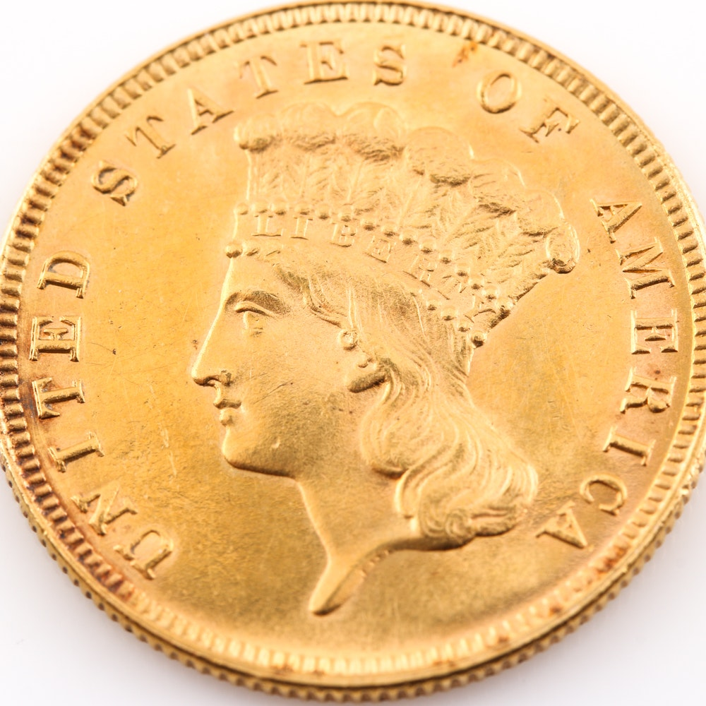 1888 Indian Head Princess $3 Gold Coin