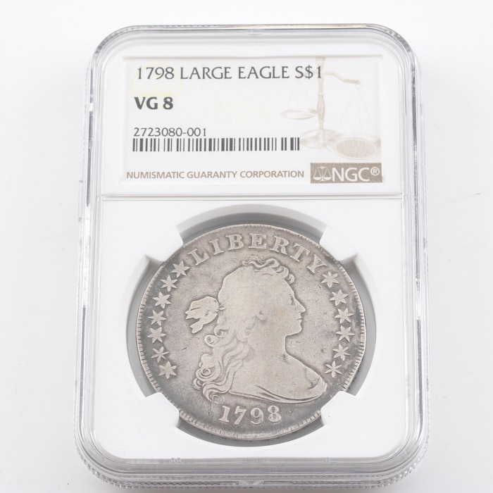 Graded VG 8 (By NGC) 1798 $1 Draped Bust Large Eagle Silver Dollar