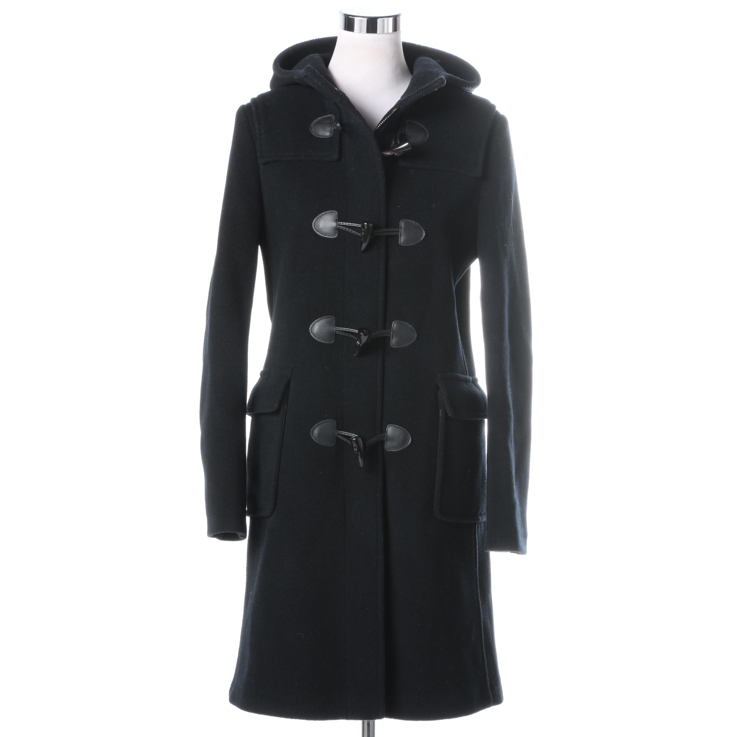Women's Burberry London Black Wool Duffle Coat