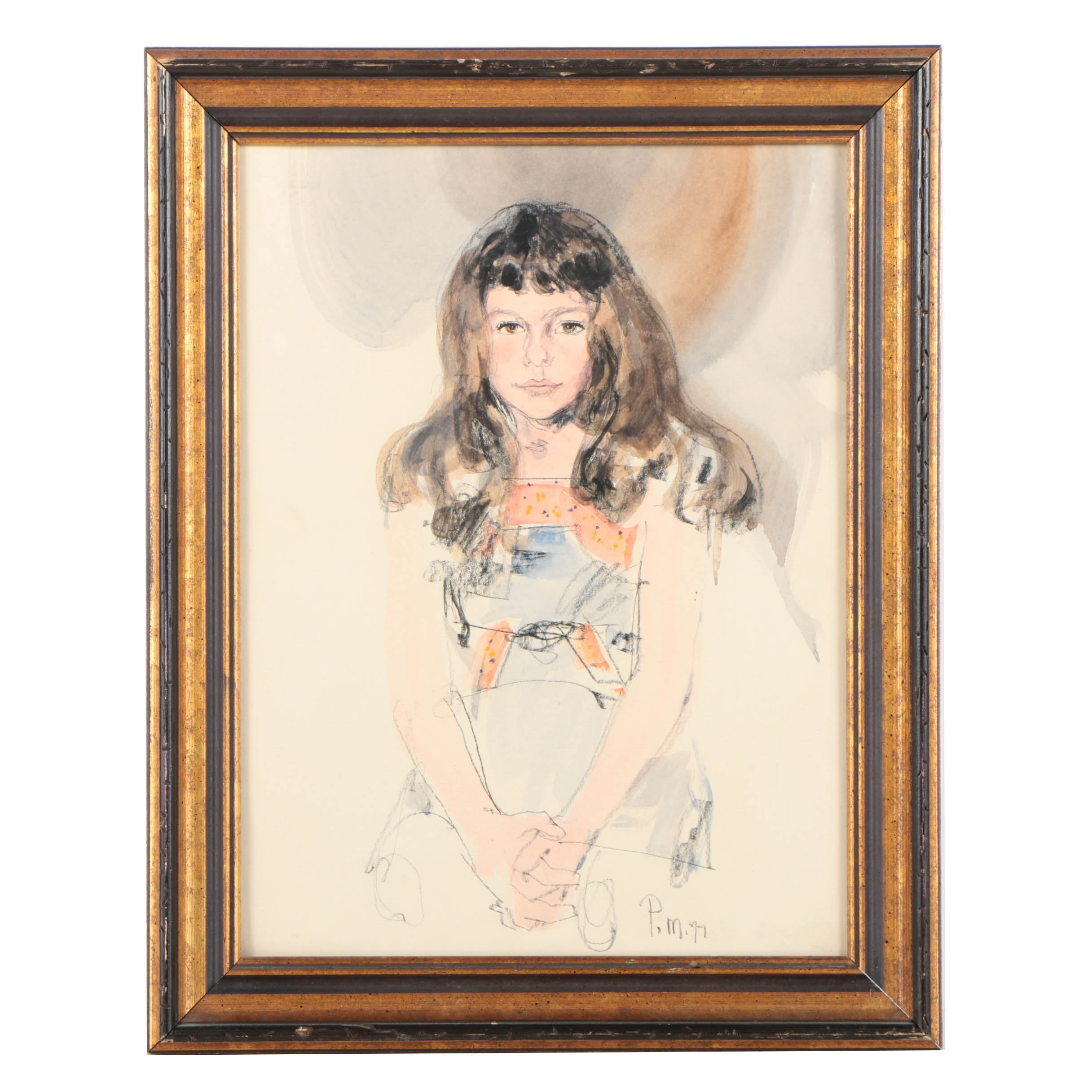 Paul Melia Watercolor and Crayon Portrait of a Girl