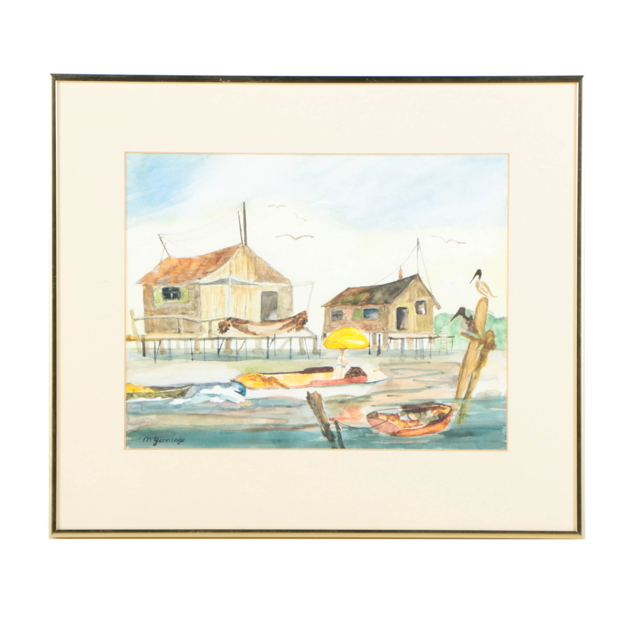 M. Jennings Watercolor Painting of a Harbor